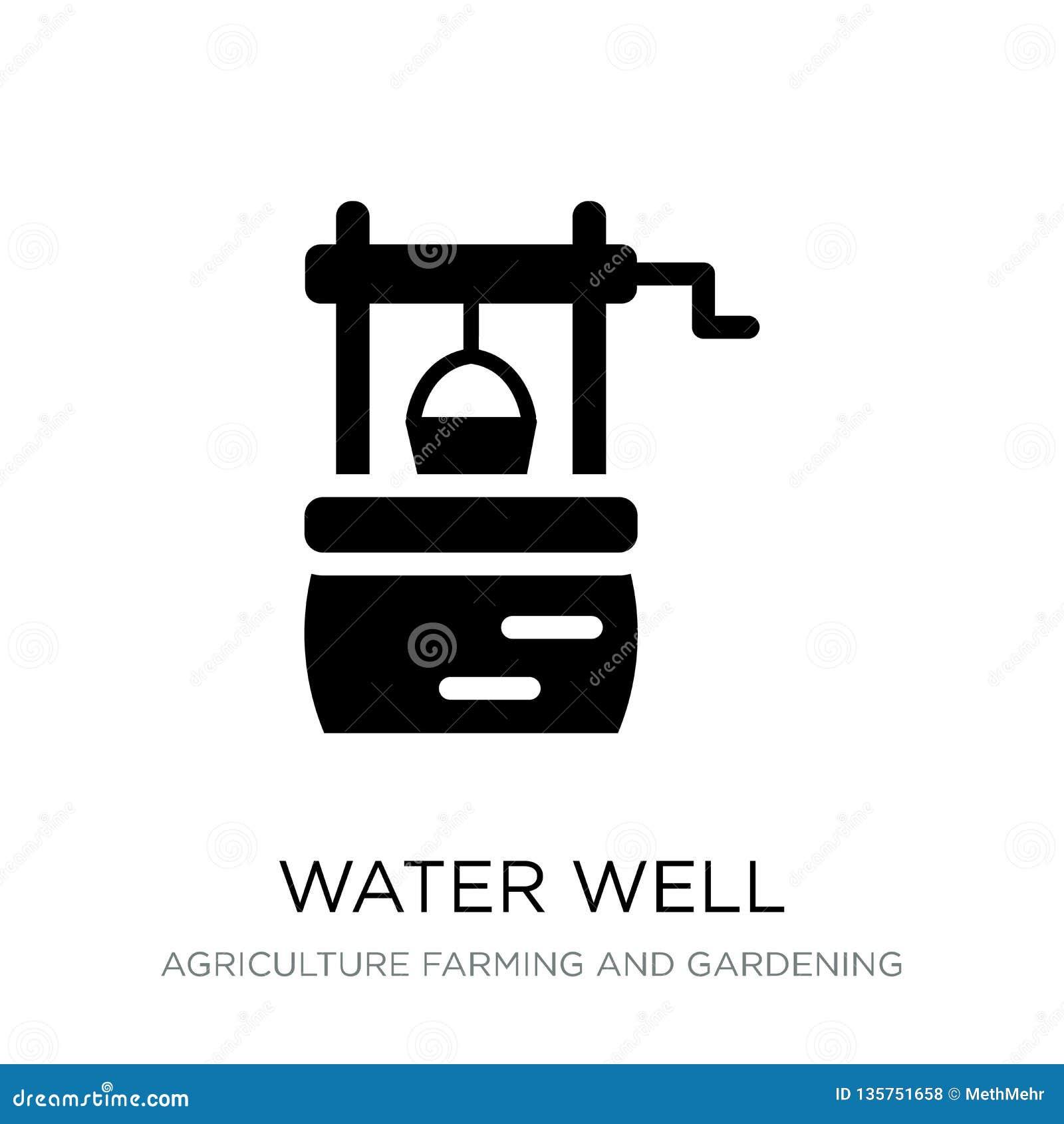 Icona del pozzo d acqua nello stile d avanguardia di progettazione icona del pozzo d acqua isolata su fondo bianco icona di vetto