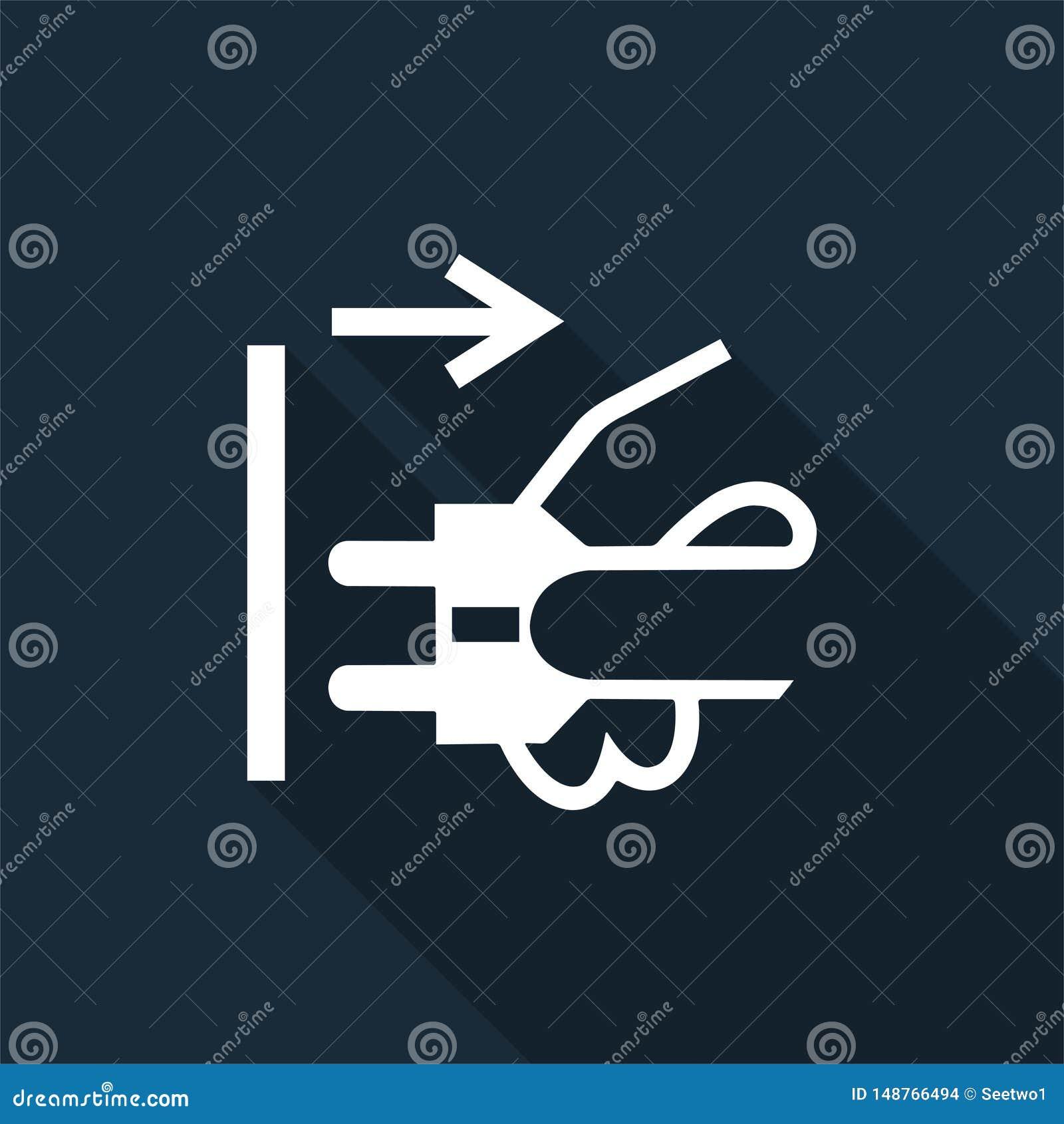 Icona del PPE Le condutture di sconnessione tappano dall isolato elettrico del segno di simbolo dello sbocco su fondo nero, illus