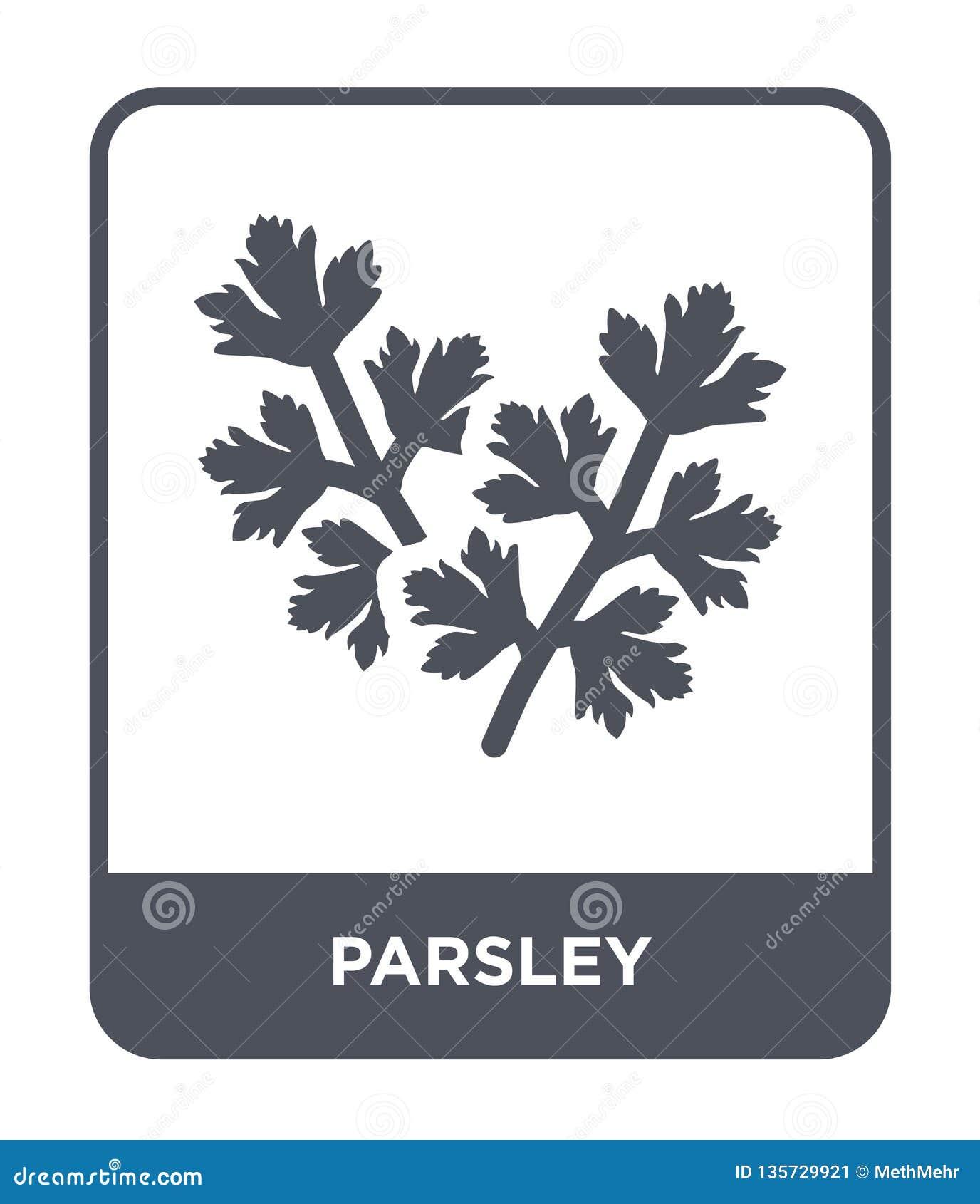 Icona del prezzemolo nello stile d avanguardia di progettazione icona del prezzemolo isolata su fondo bianco simbolo piano sempli