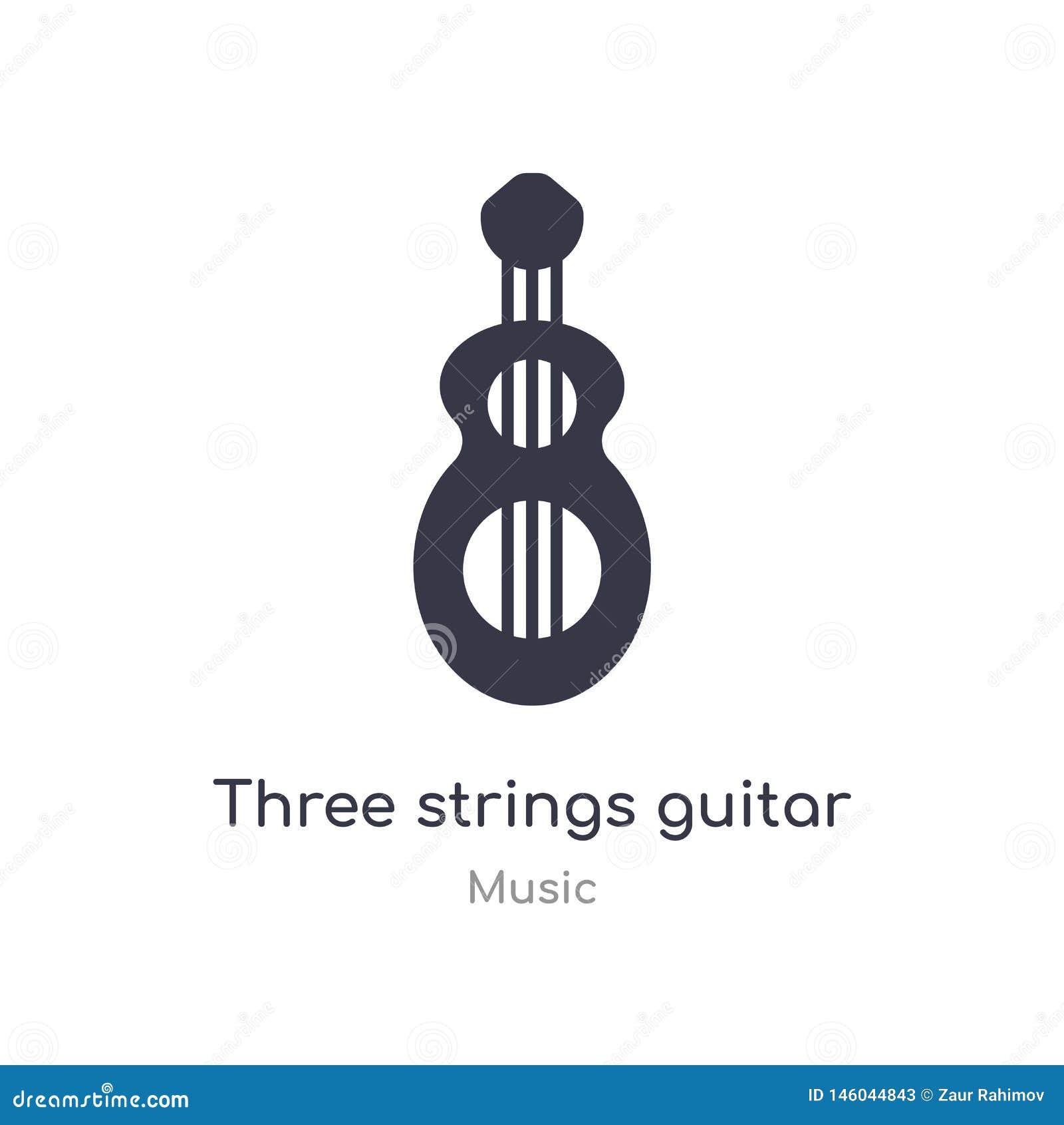 Icona del profilo della chitarra di tre corde linea isolata illustrazione di vettore dalla raccolta di musica corde sottili edita