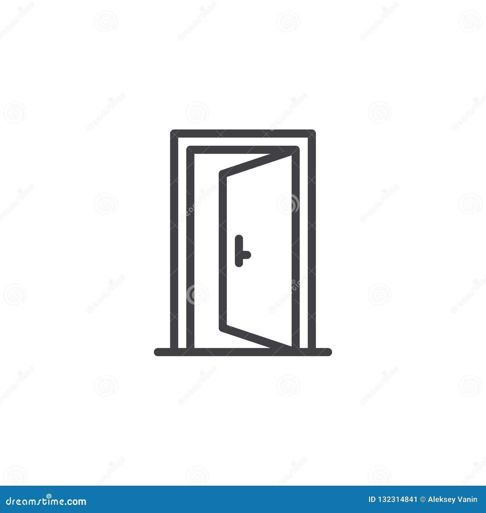 Icona del profilo della porta aperta