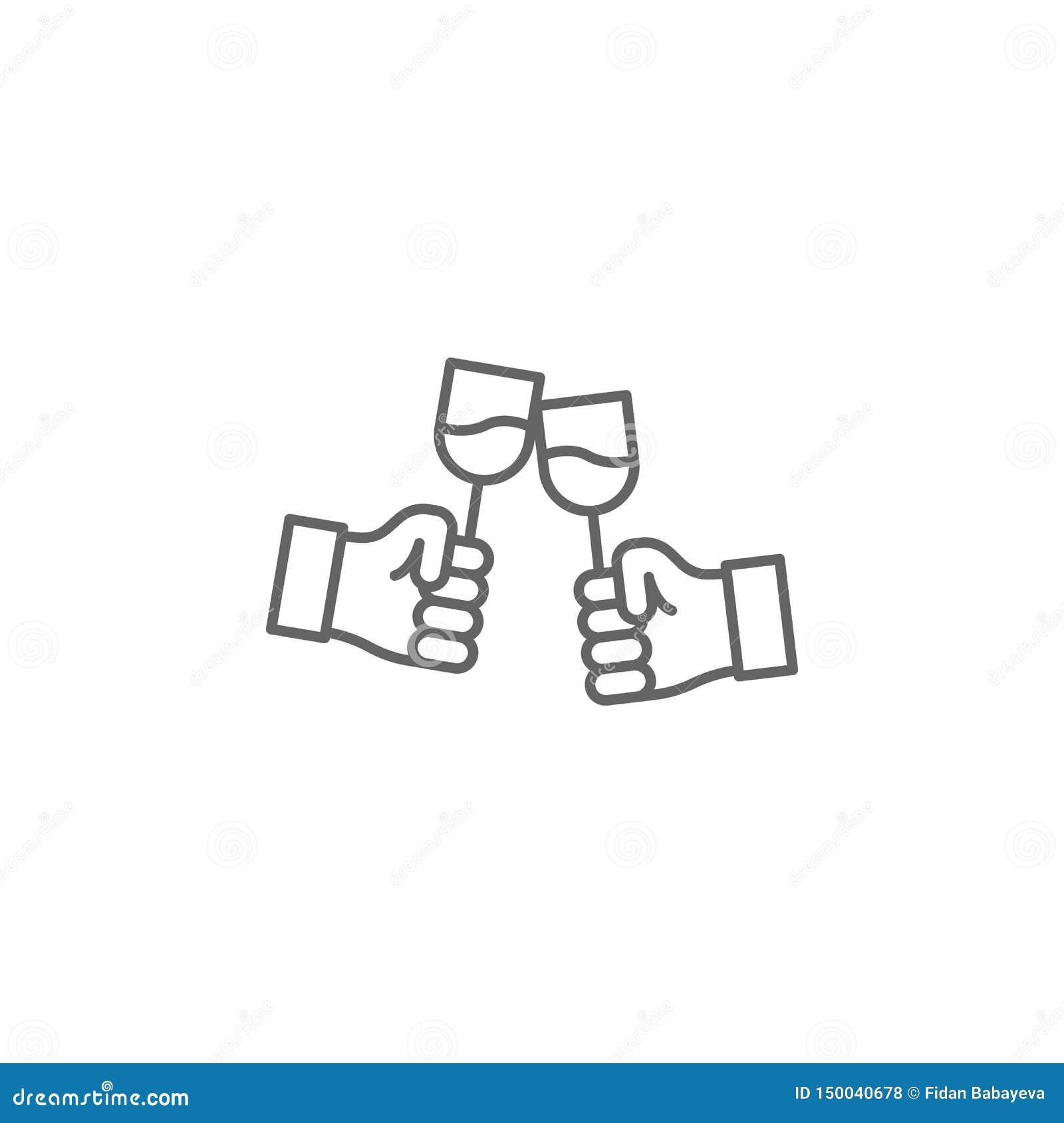 Icona del profilo di amicizia delle mani del pane tostato Elementi della linea icona di amicizia I segni, i simboli ed i vettori