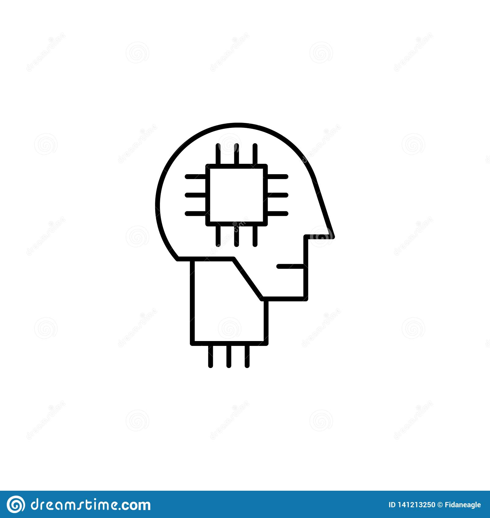 Icona del profilo del robot di mente umana di robotica I segni ed i simboli possono essere usati per il web, logo, app mobile, UI