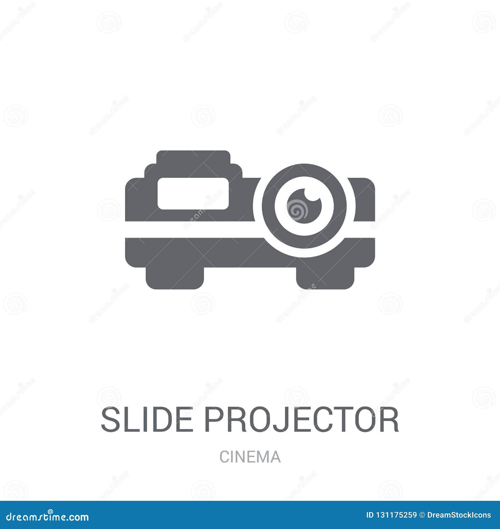 Icona del proiettore di diapositive Concetto d avanguardia di logo del proiettore di diapositive sul whi