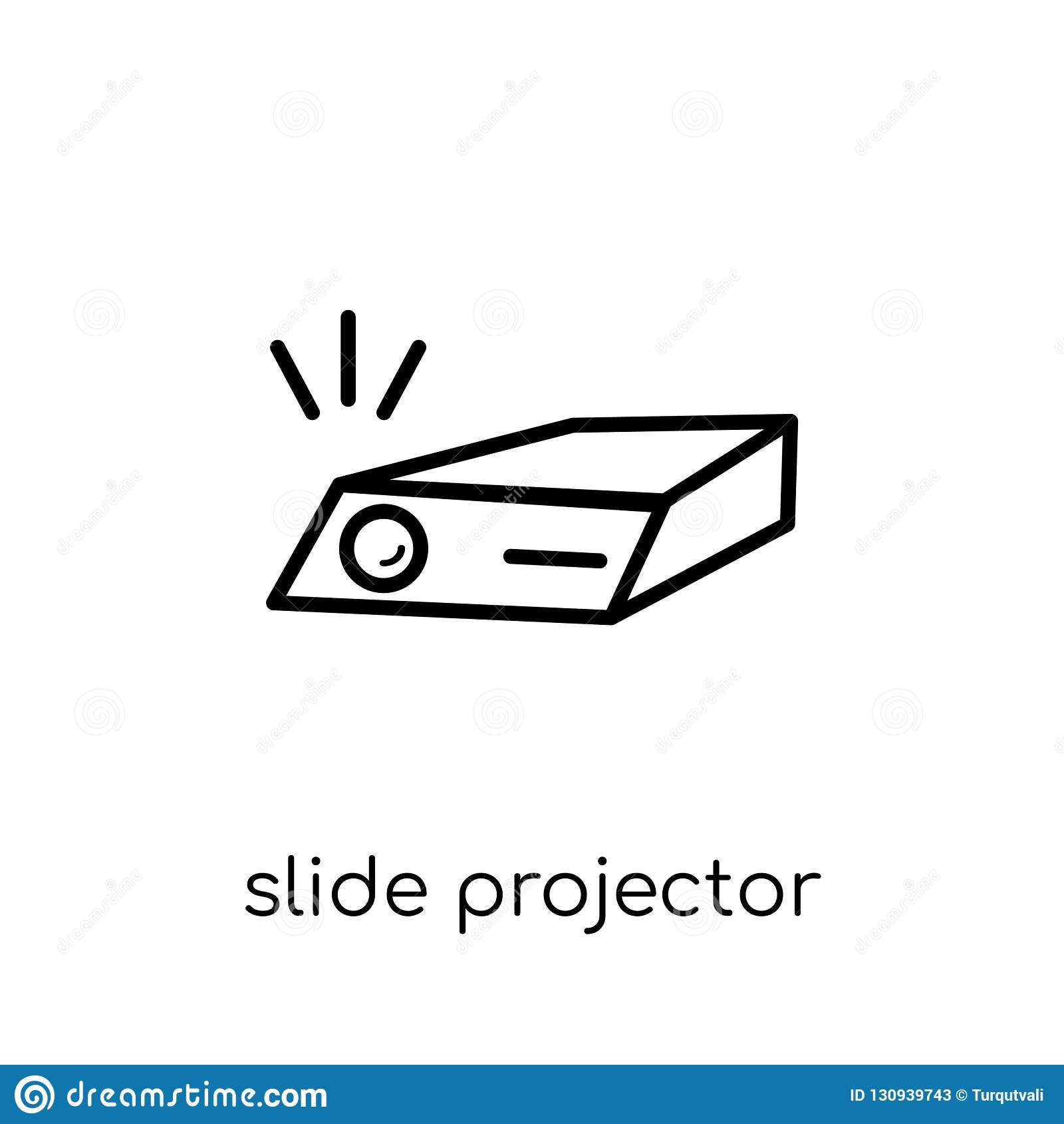 Icona del proiettore di diapositive Scorrevole lineare piano moderno d avanguardia di vettore pro
