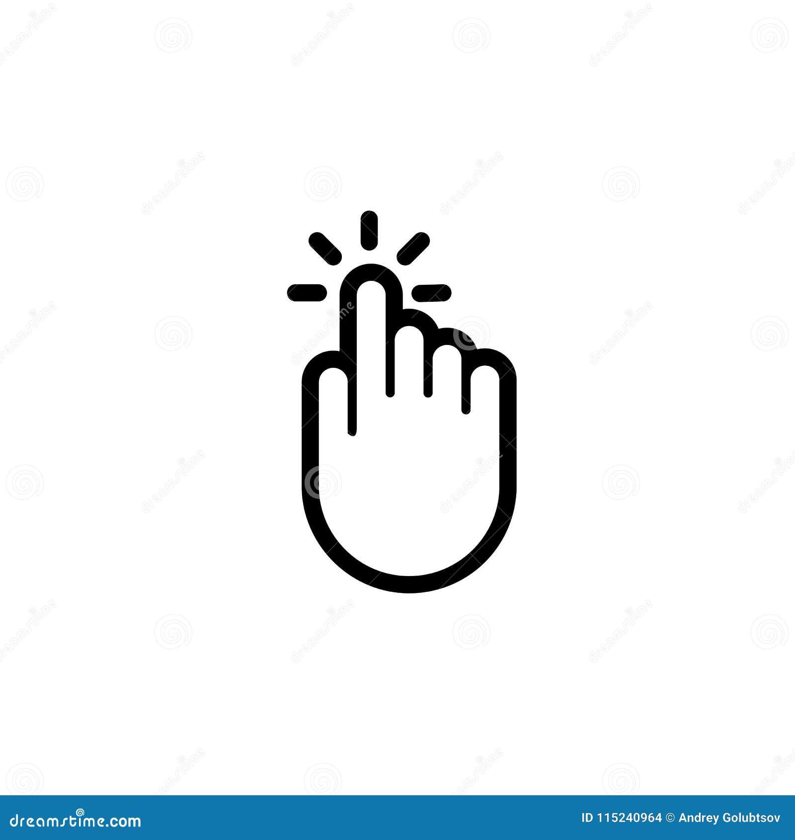Icona del puntatore di vettore di spinta del torchio tipografico manuale del dito di clic