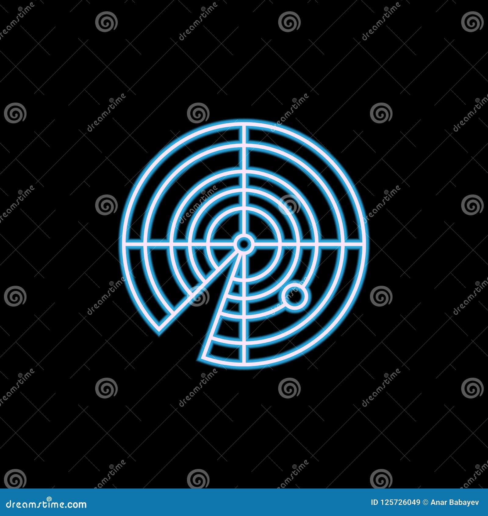 Icona del radar nello stile al neon Uno dell icona militare della raccolta può essere usato per UI, UX