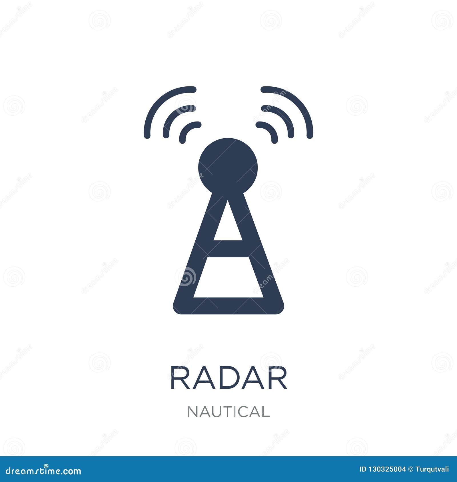 Icona del radar Icona piana d avanguardia del radar di vettore su fondo bianco franco
