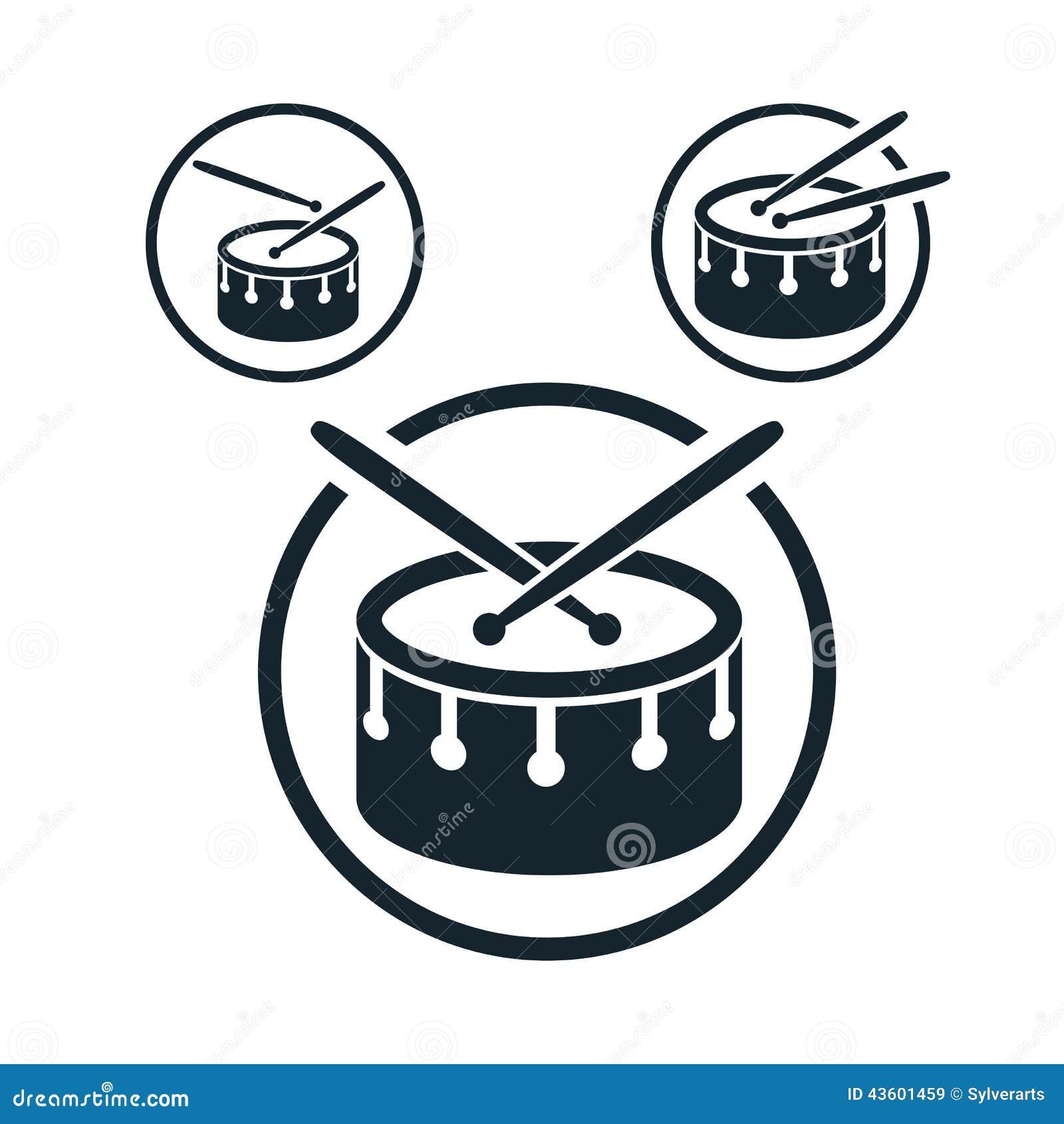 Icona del rullante, singolo simbolo di tema di musica di vettore di colore per il vostro