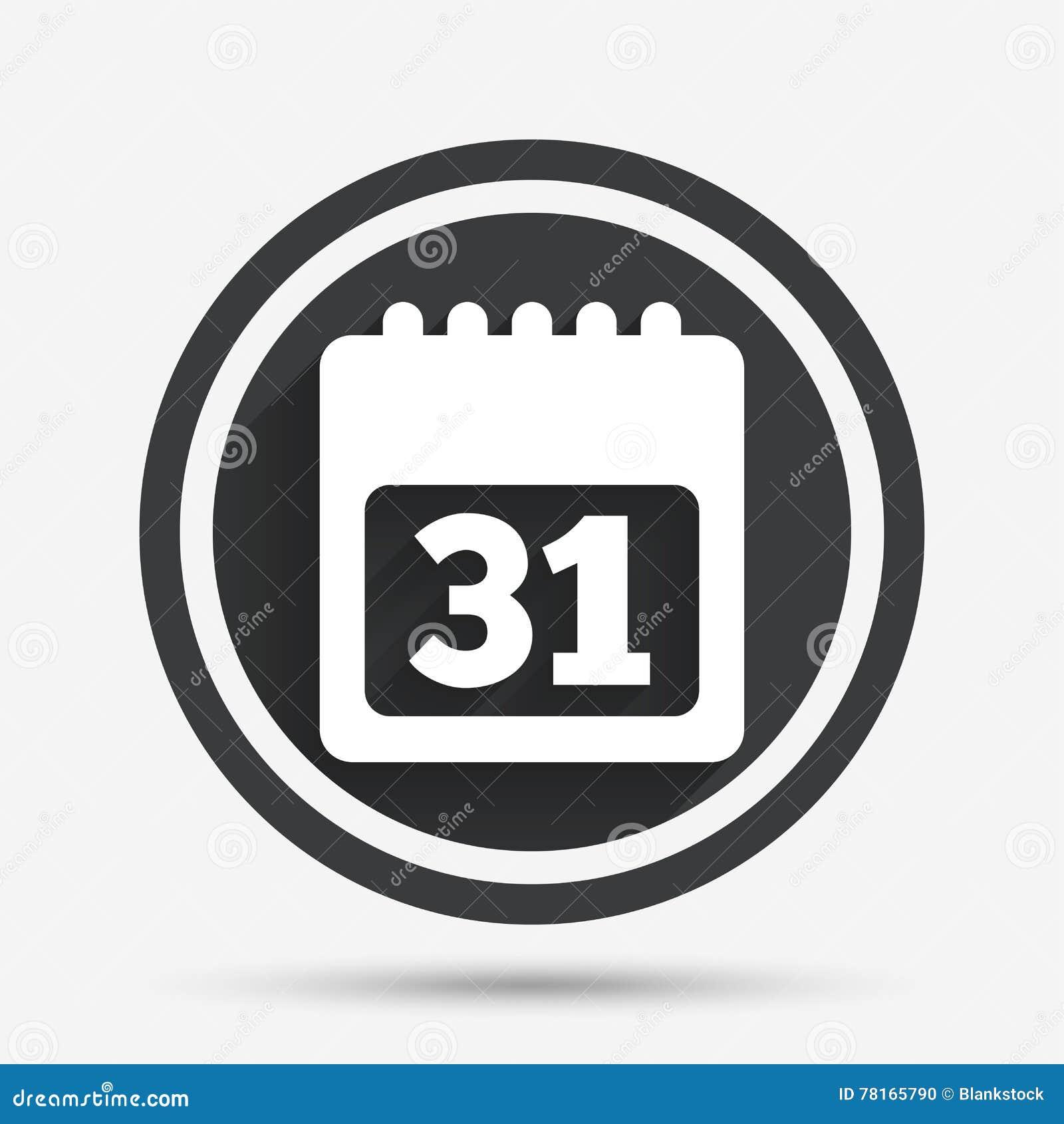 Simbolo De Calendario.Icona Del Segno Del Calendario Simbolo Di Mese Di 31 Giorno