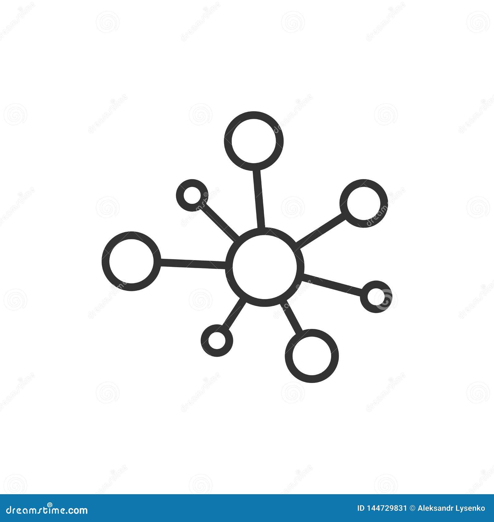 Icona del segno della connessione di rete del hub nello stile piano Illustrazione di vettore della molecola del DNA su fondo isol