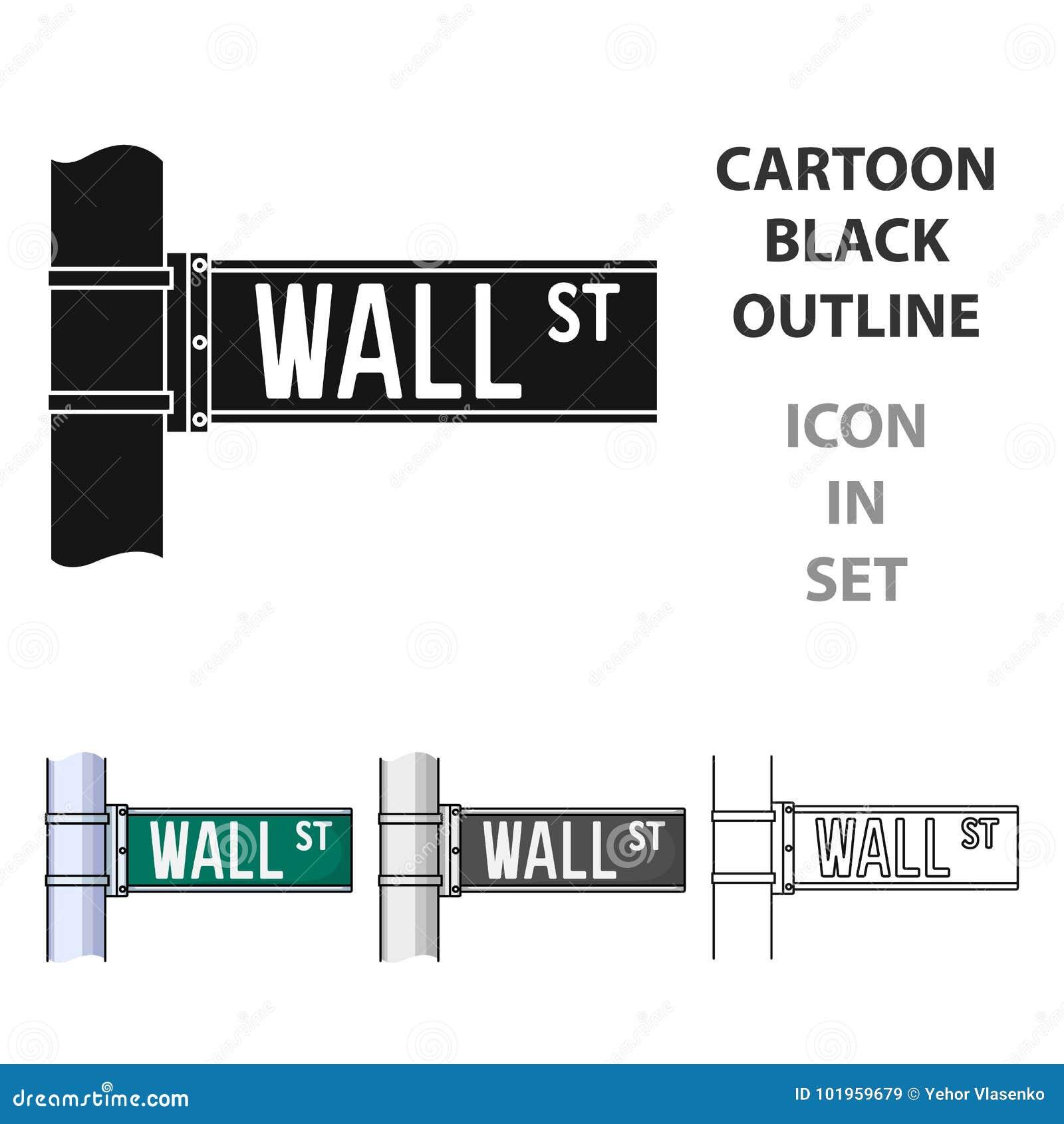 Icona del segno di Wall Street nello stile del fumetto isolata su fondo bianco Soldi ed illustrazione di vettore delle azione di