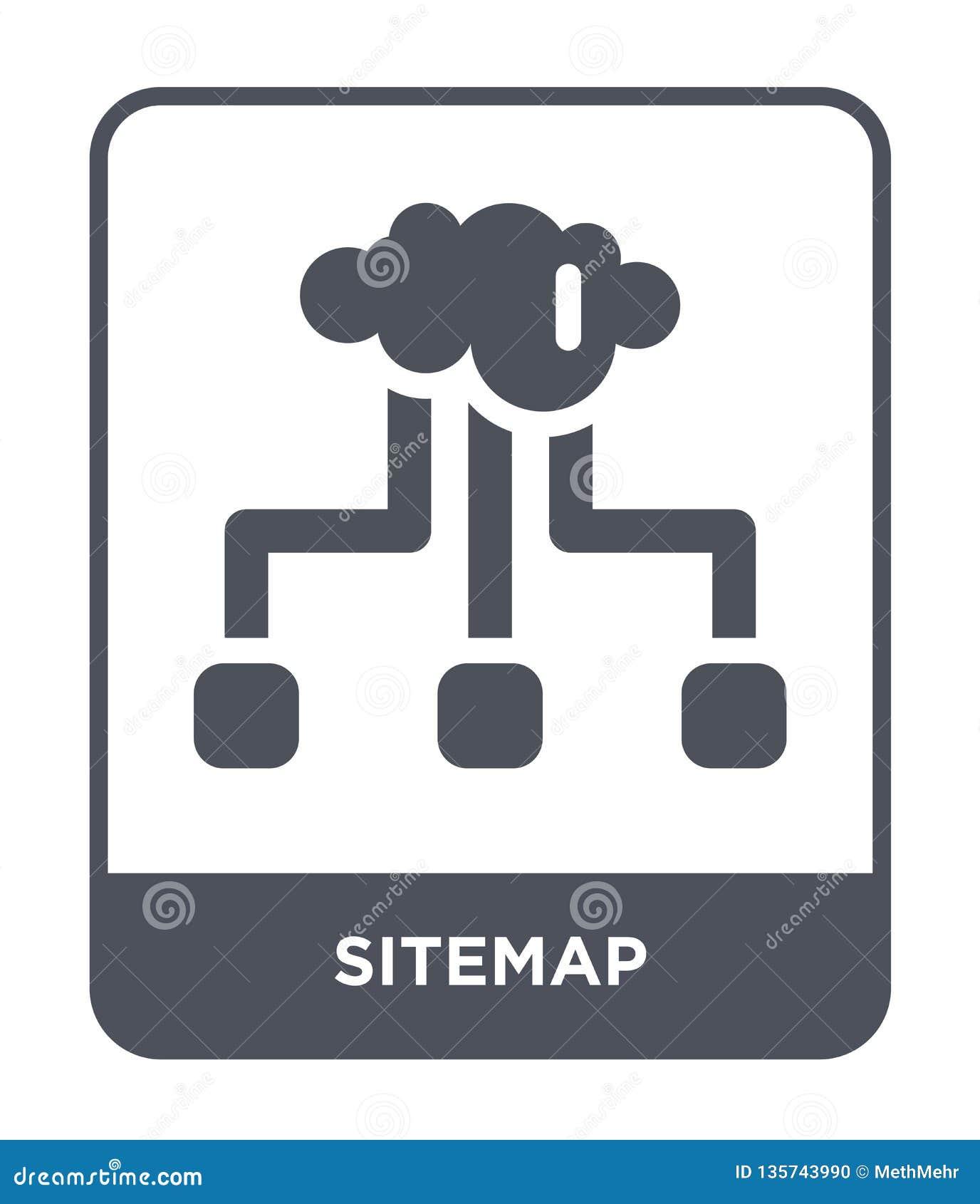 Icona del sitemap nello stile d avanguardia di progettazione icona del sitemap isolata su fondo bianco simbolo piano semplice e m