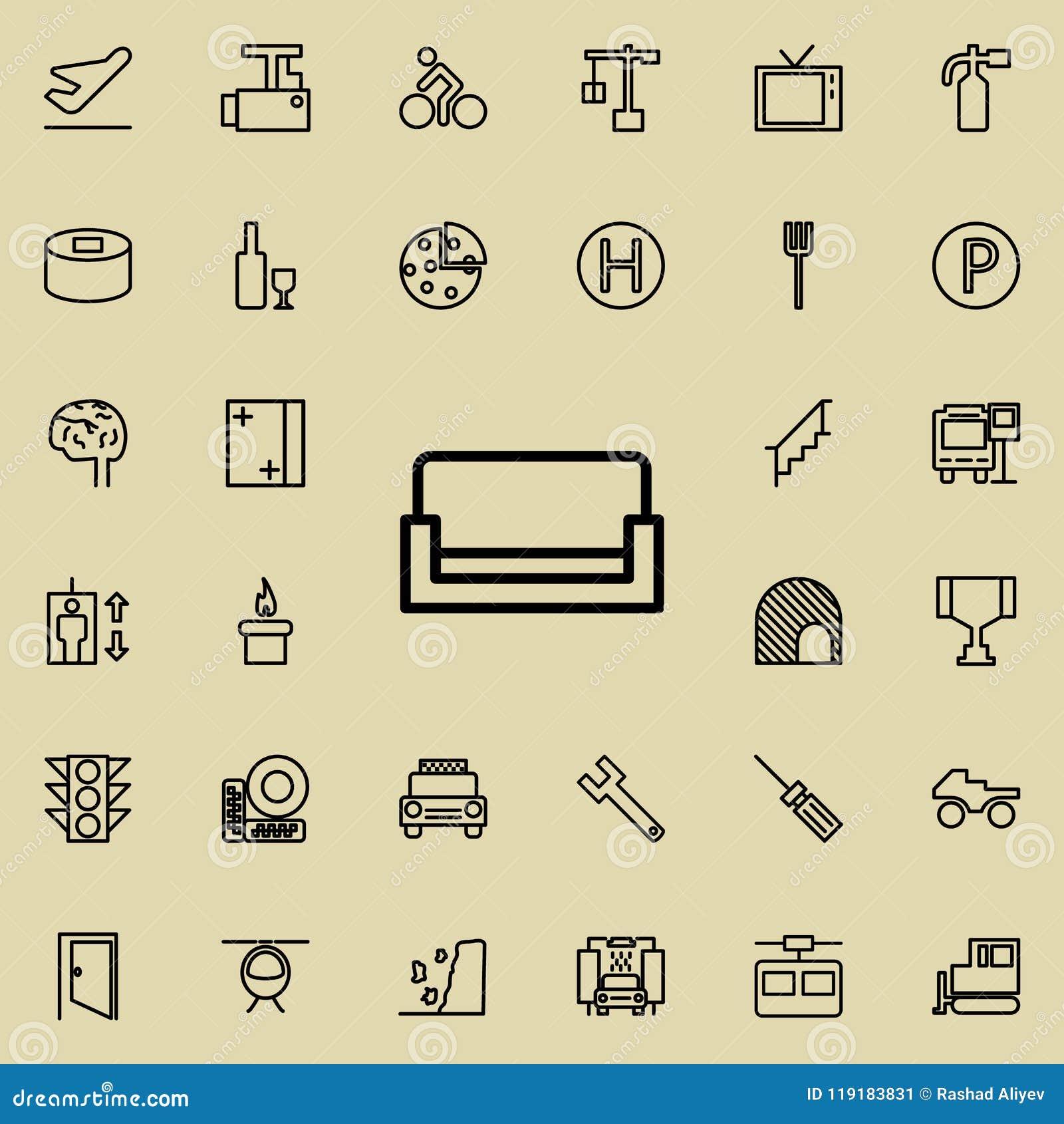 Icona del sofà Insieme dettagliato della linea minimalistic icone Progettazione grafica premio Una delle icone della raccolta per