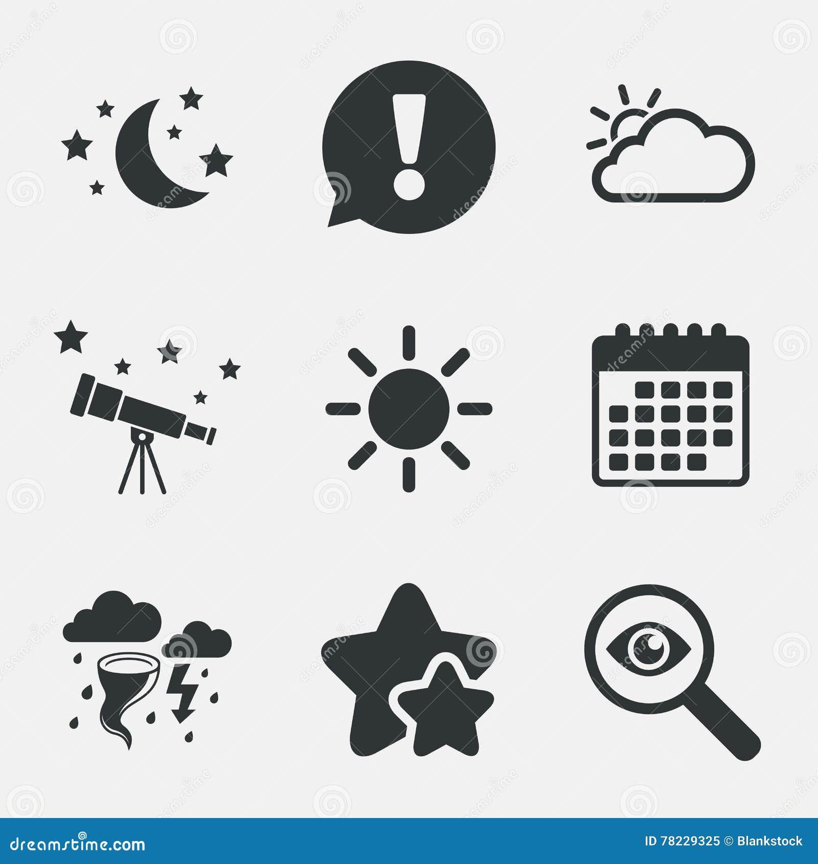 Simboli Luna Calendario.Icona Del Sole E Della Nuvola Simbolo Della Tempesta Luna E