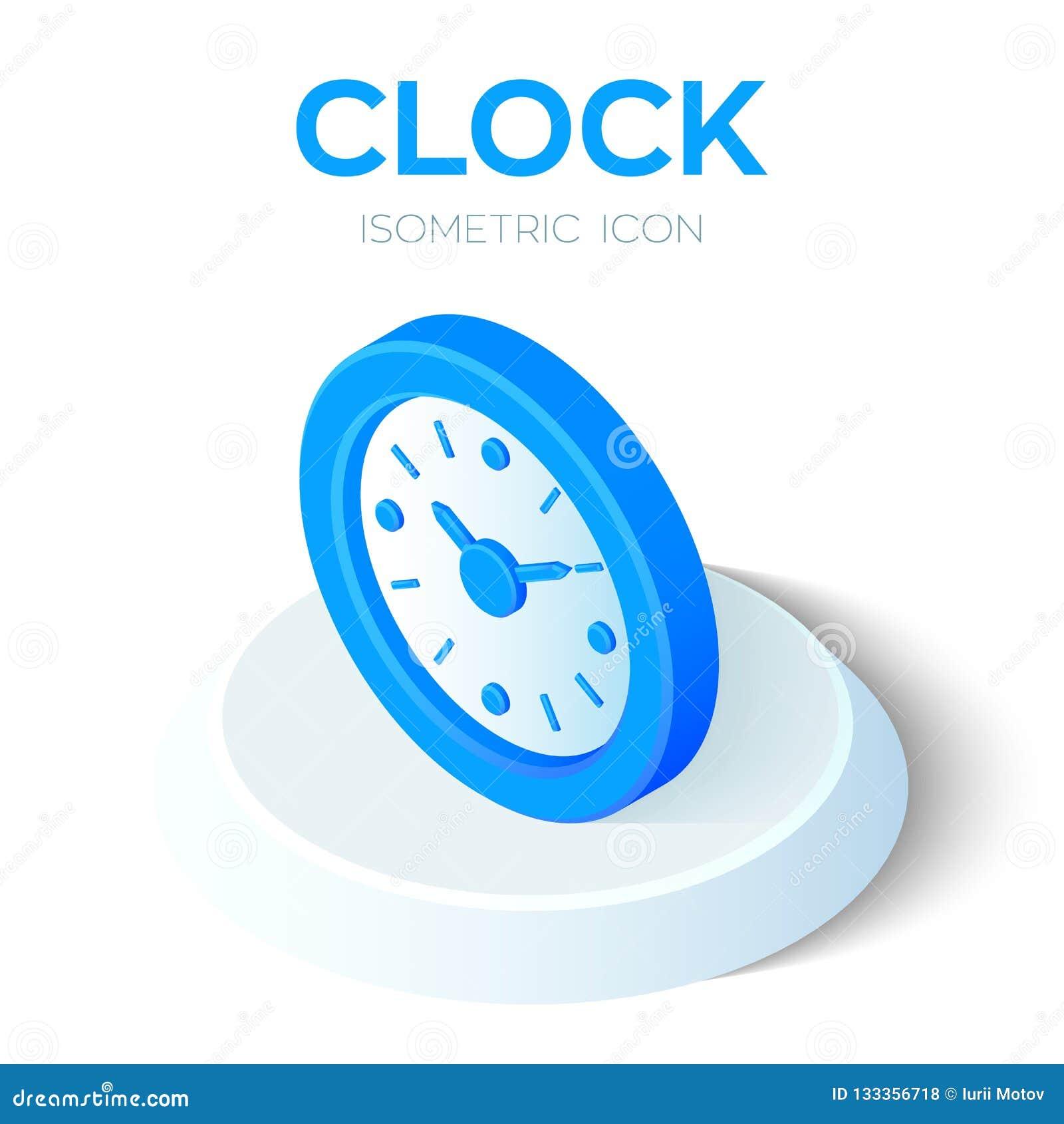 Icona dell orologio segno isometrico dell orologio 3D simbolo di tempo Creato per il cellulare, web, decorazione, prodotti della