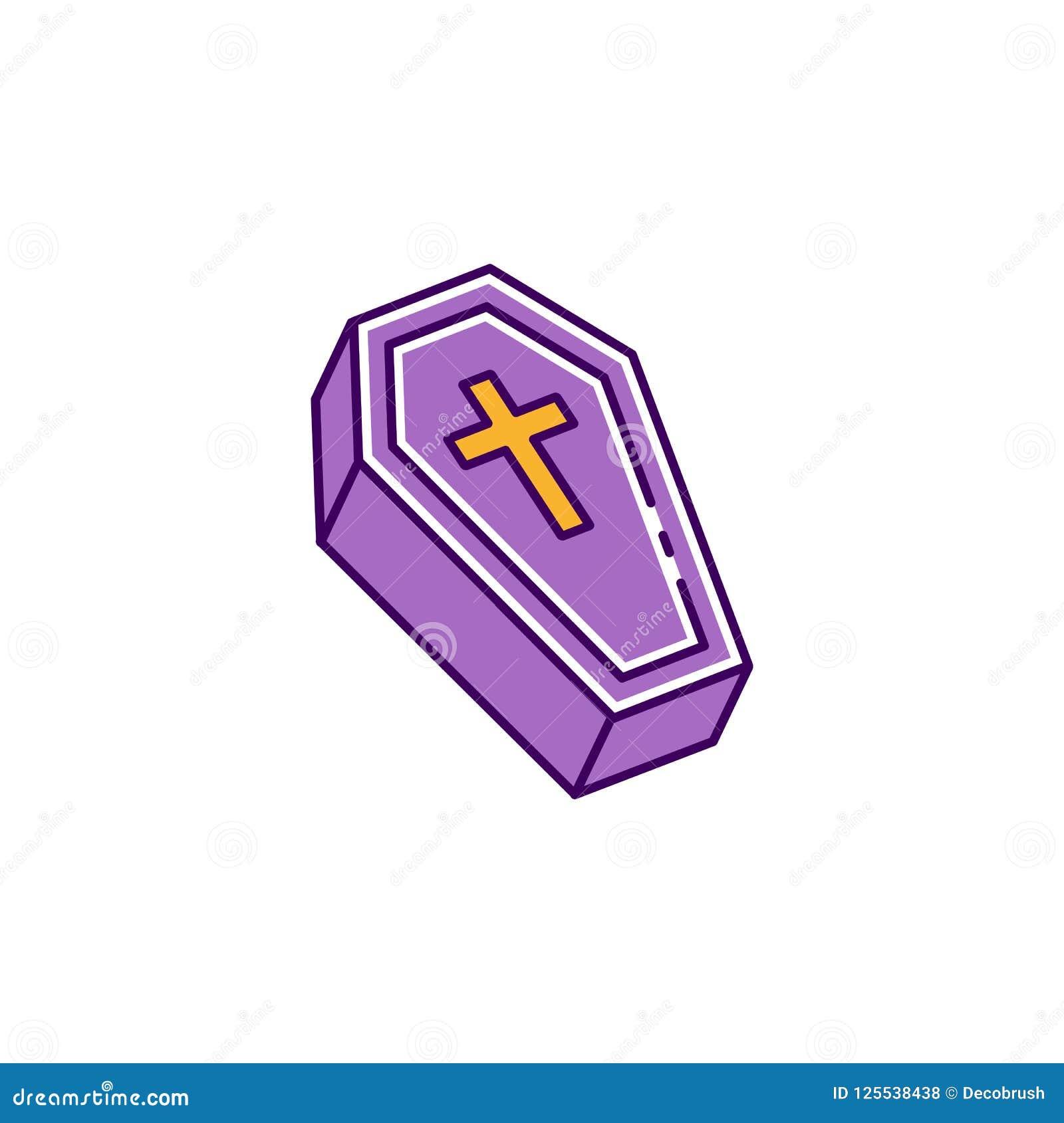 Icona della bara, segno del cofanetto Icona piana variopinta di Halloween, linea sottile progettazione di arte, illustrazione di