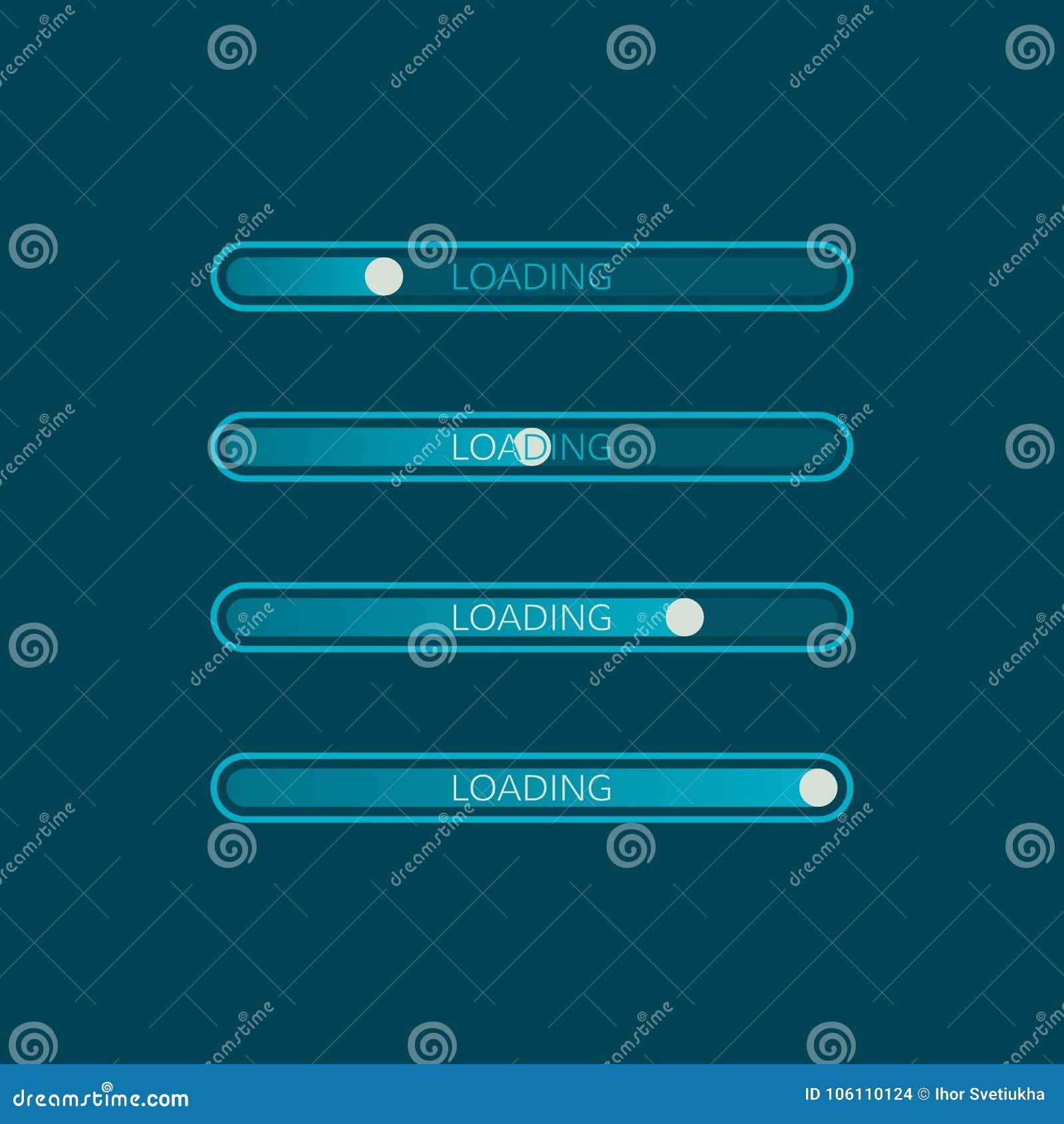 Icona della barra di caricamento Elemento creativo di web design Progresso del sito Web di caricamento Illustrazione di vettore