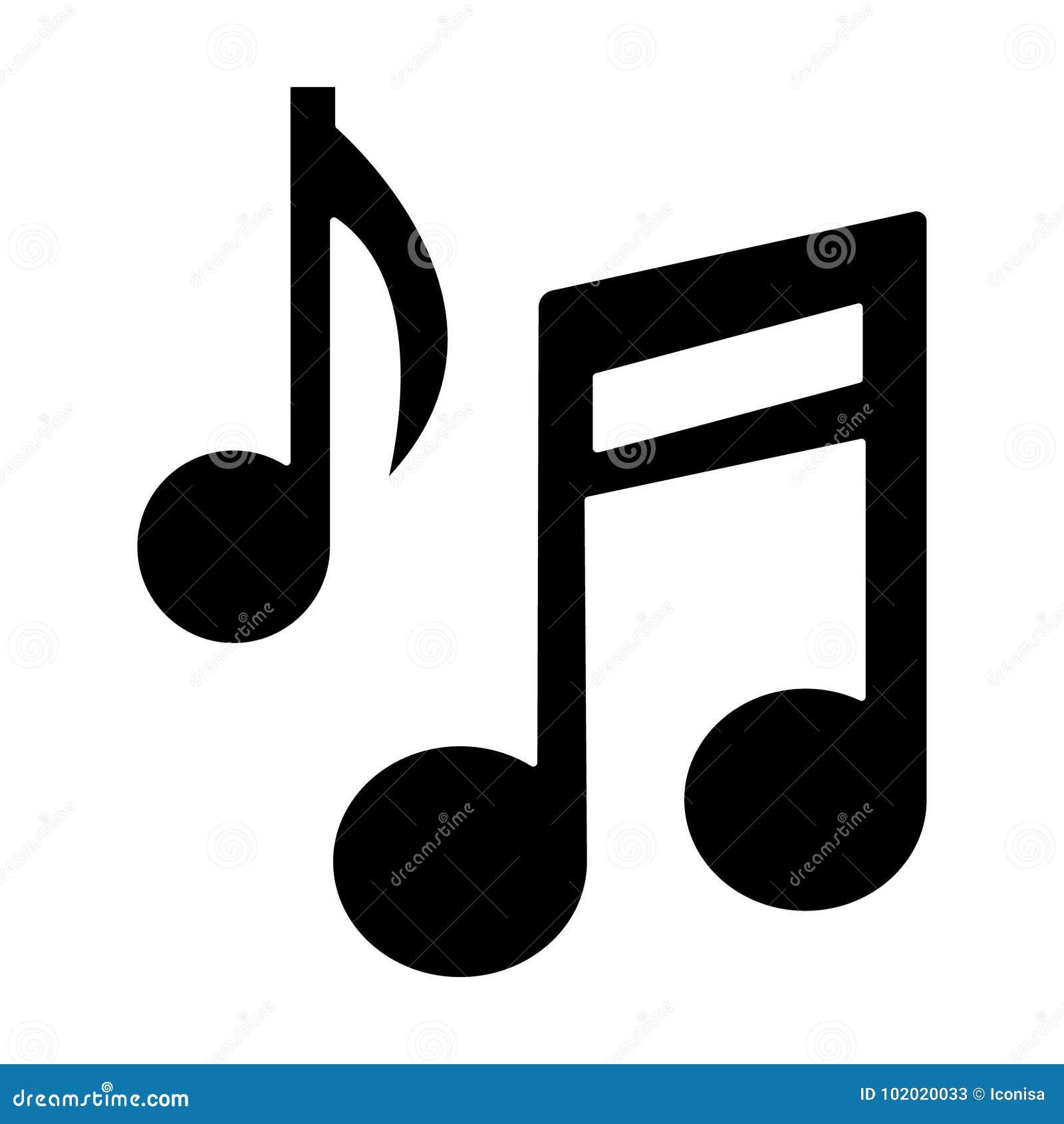 Icona della base della nota di musica, illustrazione di vettore, segno nero su fondo isolato