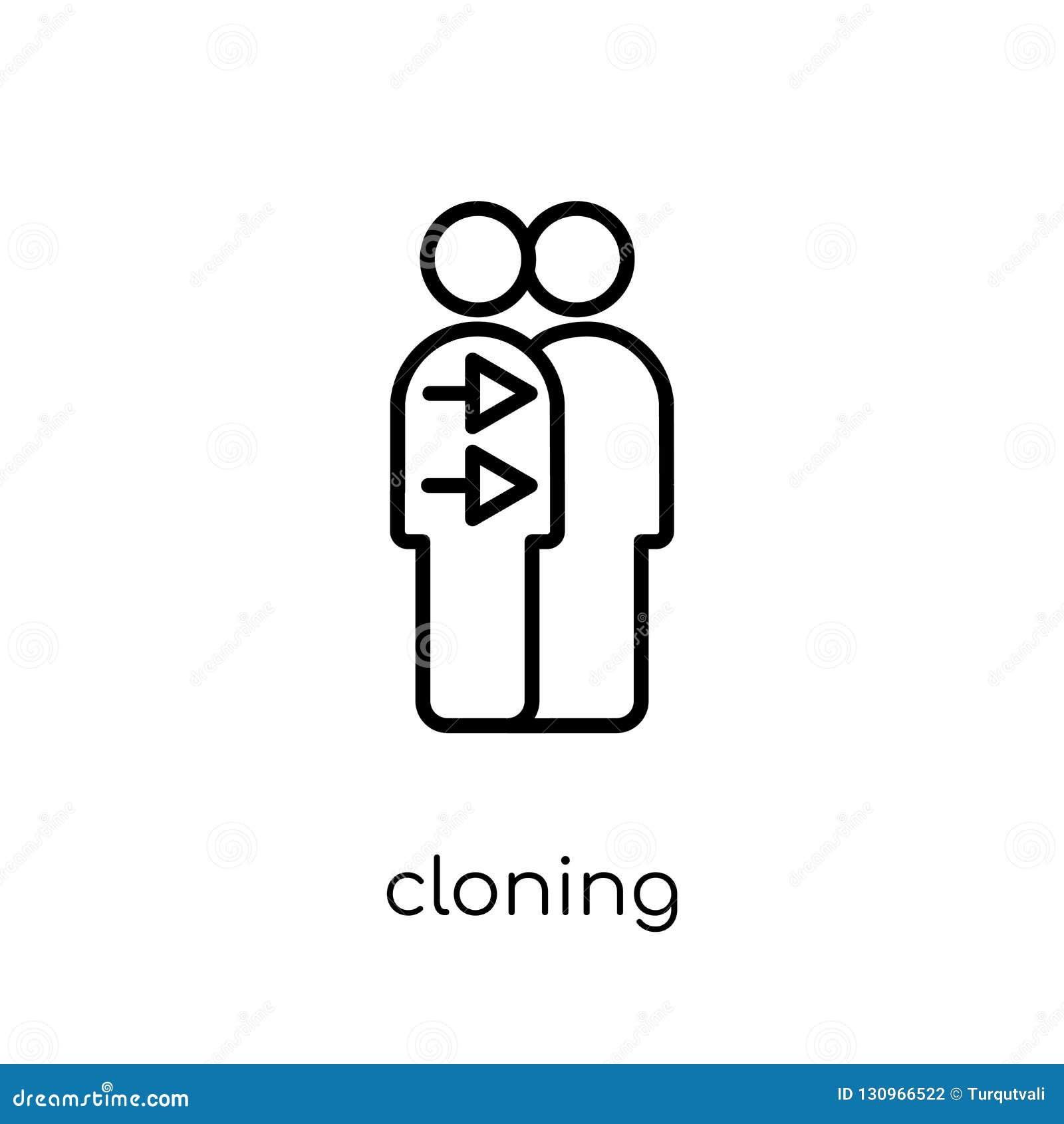 Icona della clonazione Icona lineare piana moderna d avanguardia della clonazione di vettore su w