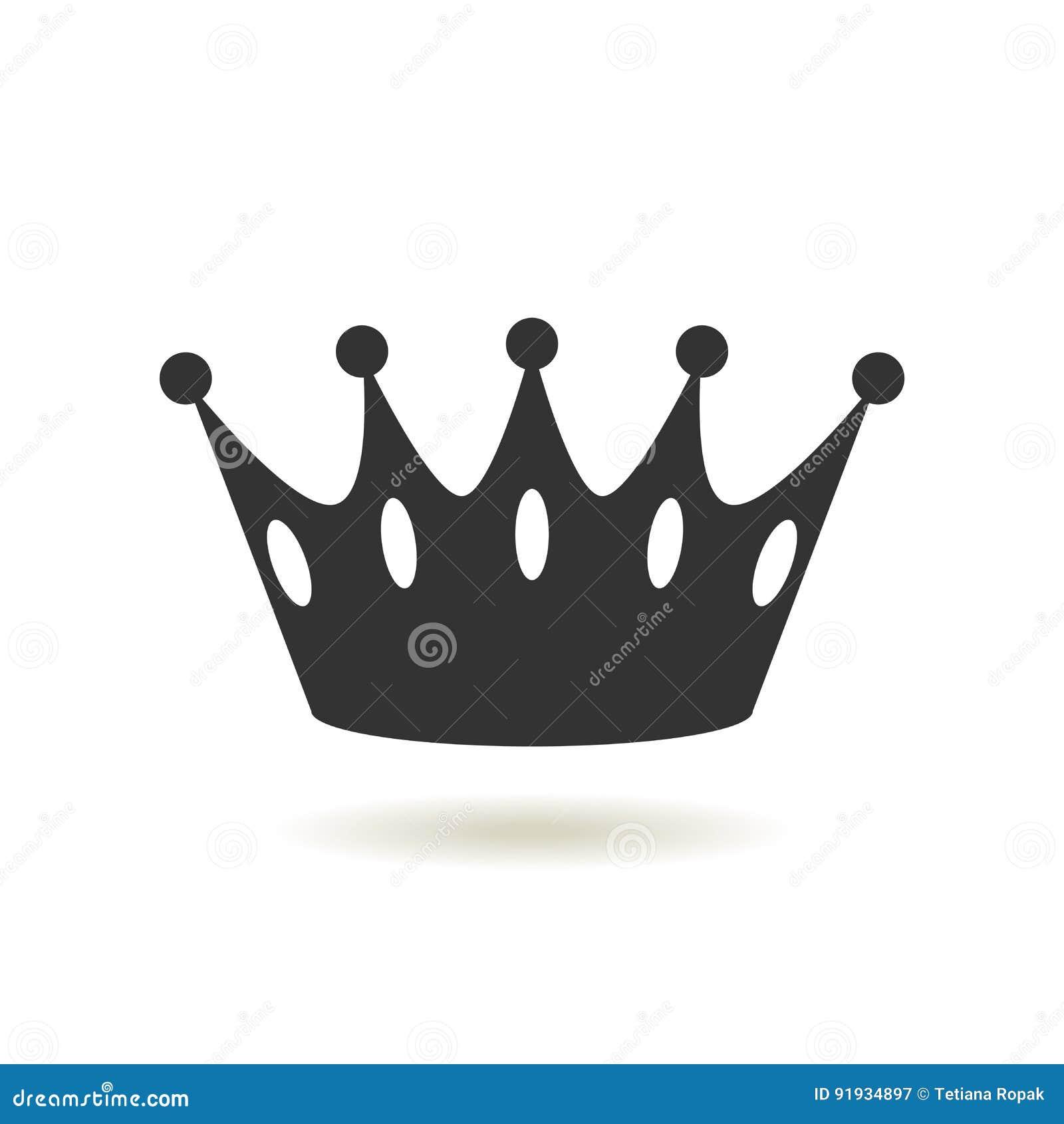 Icona della corona nello stile piano d avanguardia Autorità della monarchia e simboli reali Icone antiche d annata monocromatiche