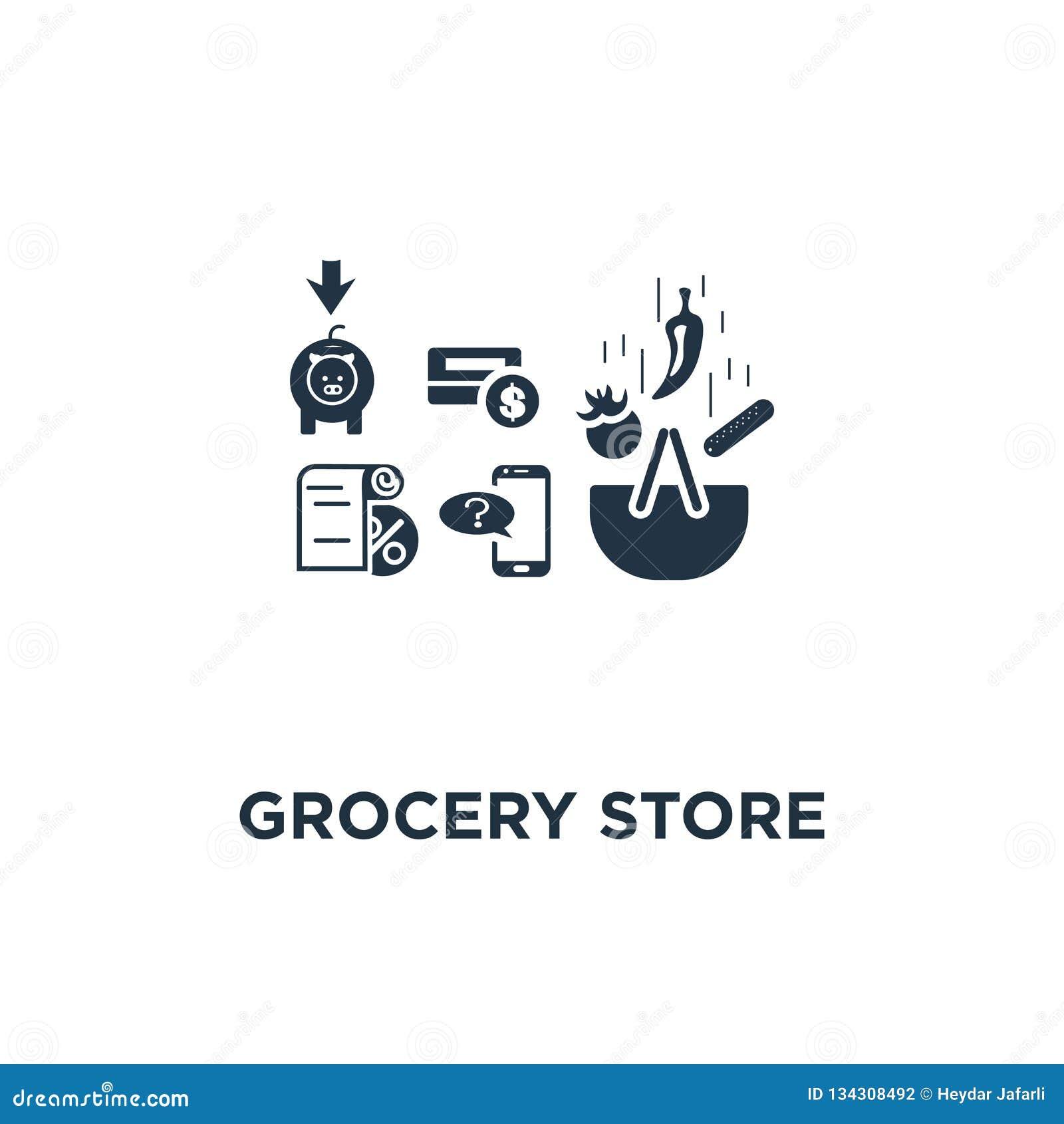 Icona della drogheria il canestro e le verdure, notifiche del messaggio di telefono, progettazione di compera di simbolo di conce