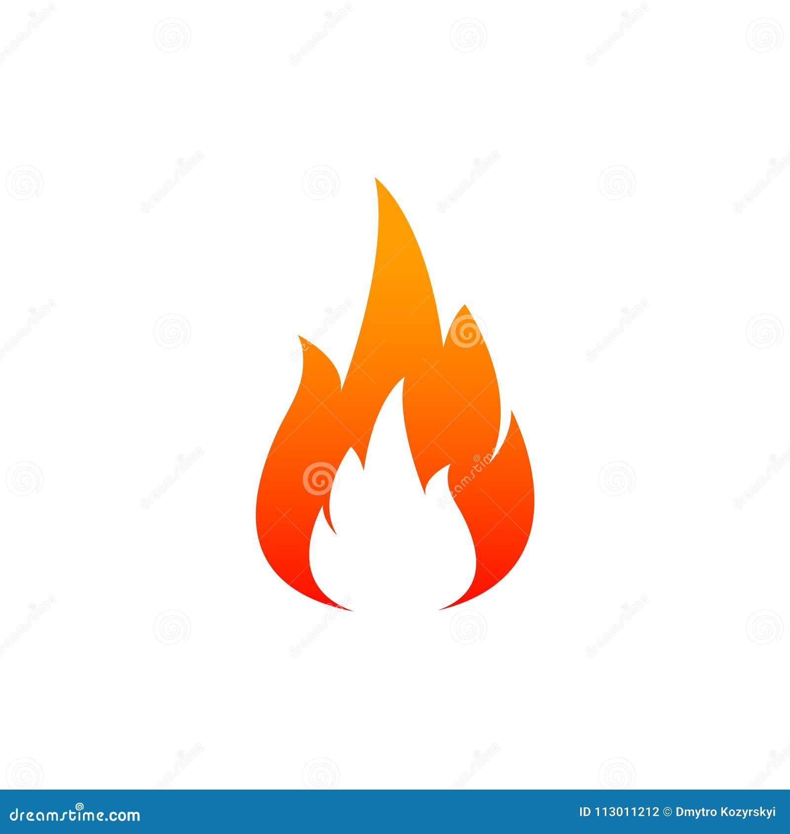 Icona della fiamma del fuoco Lubrifichi, concetto di energia e del gas ed alimento caldo Progettazione piana, illustrazione di ve