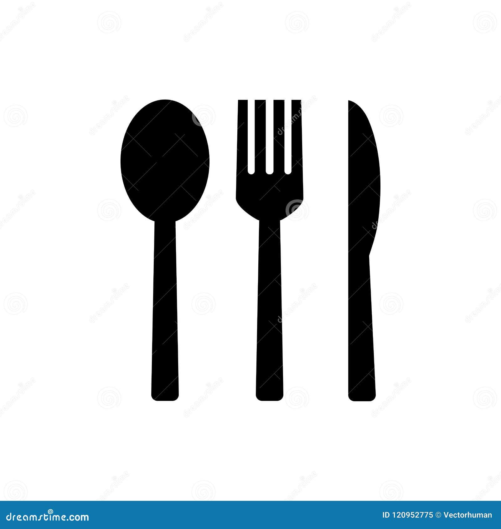 Icona della forchetta e del cucchiaio e del coltello