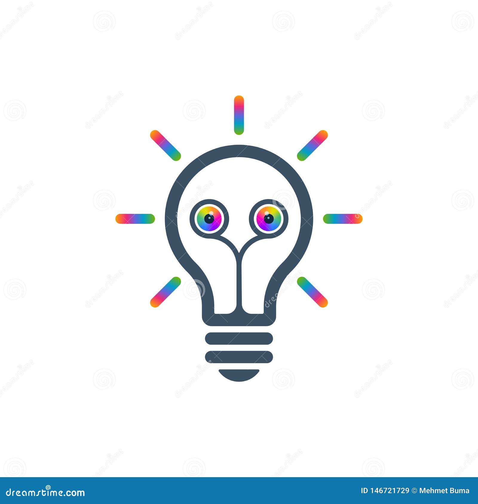 Icona della lampadina con gli occhi variopinti