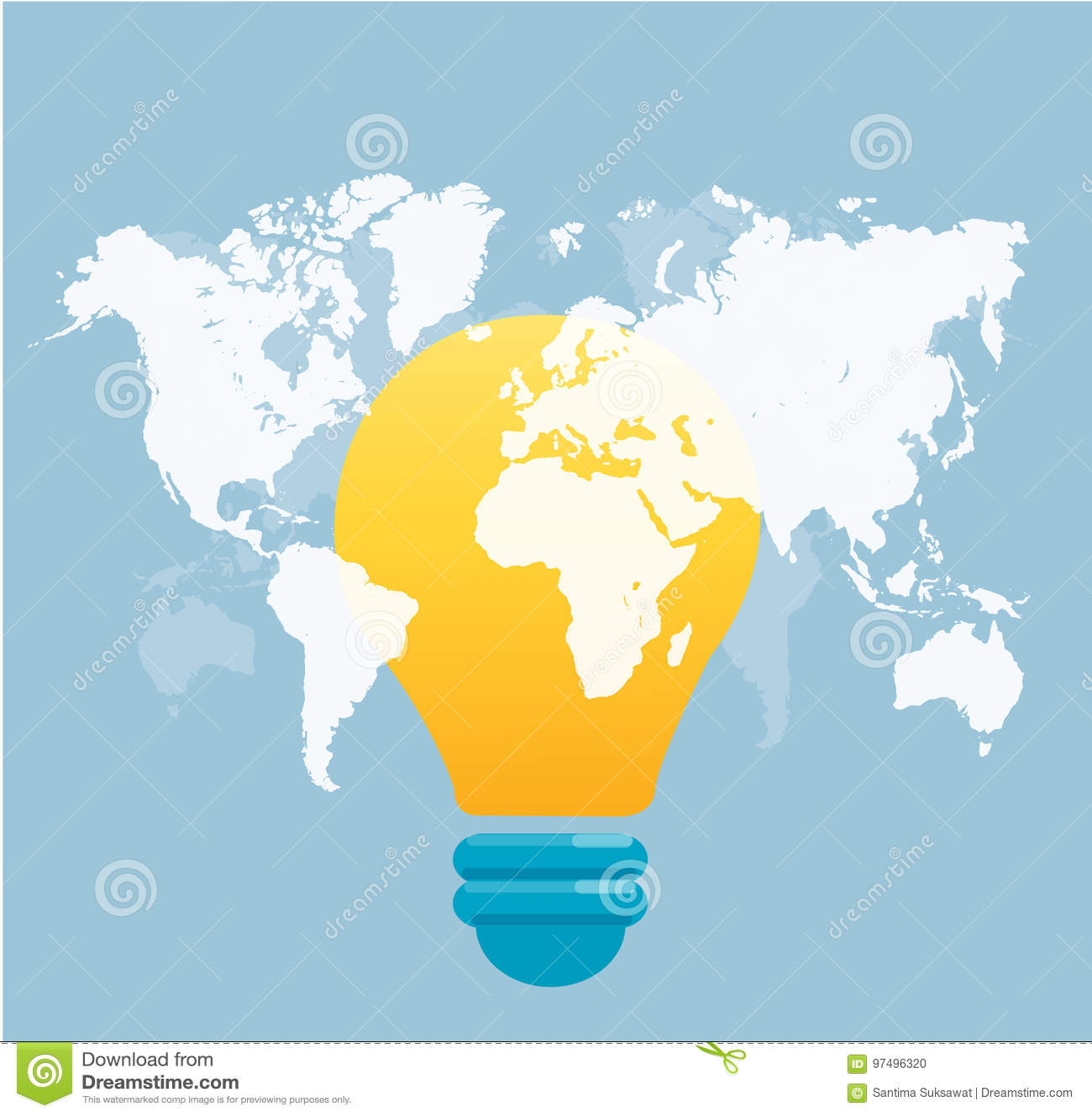 Icona della lampadina con il vettore del fondo della mappa