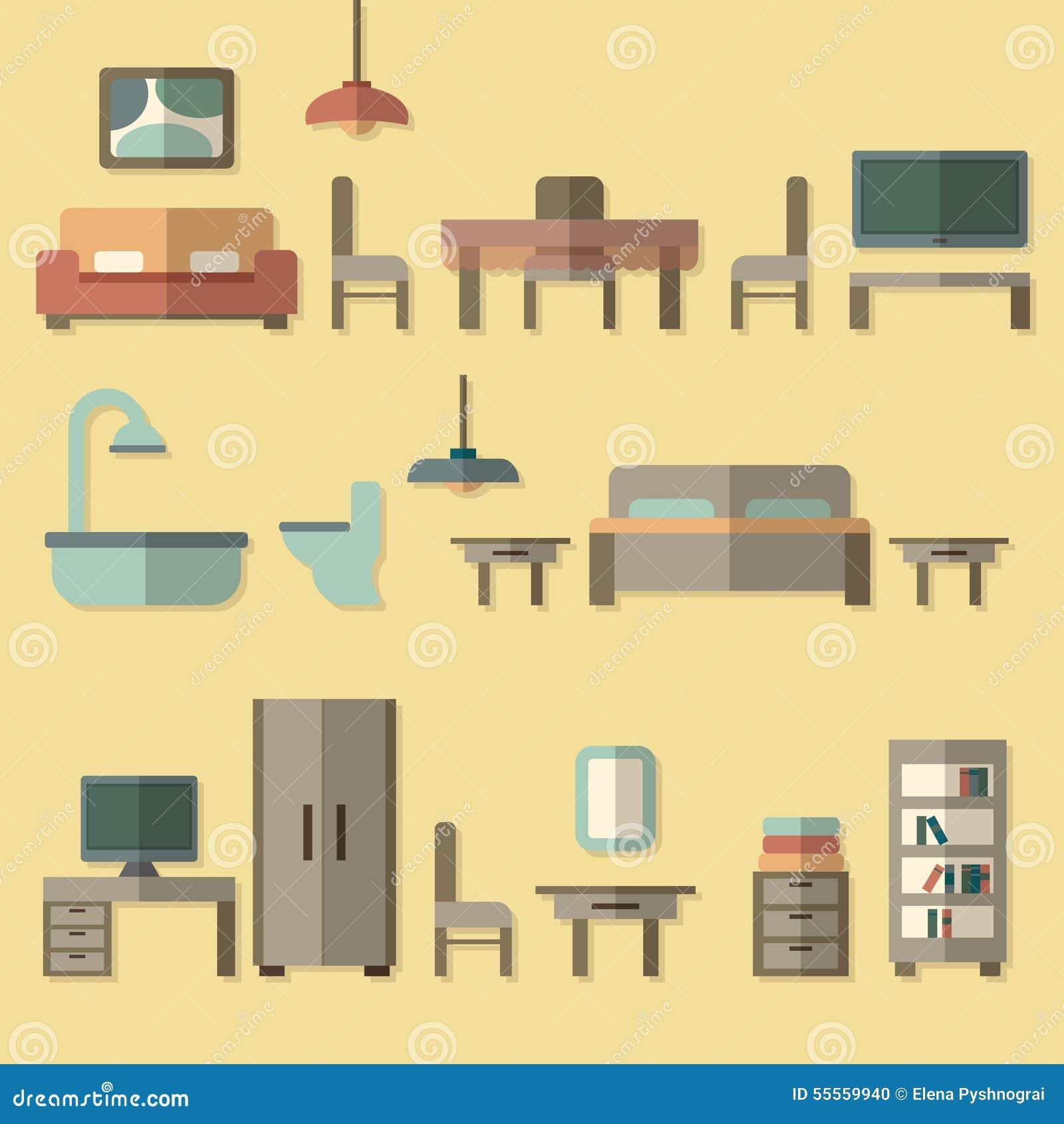 Icona della mobilia messa per le stanze della casa for Creatore della pianta della casa