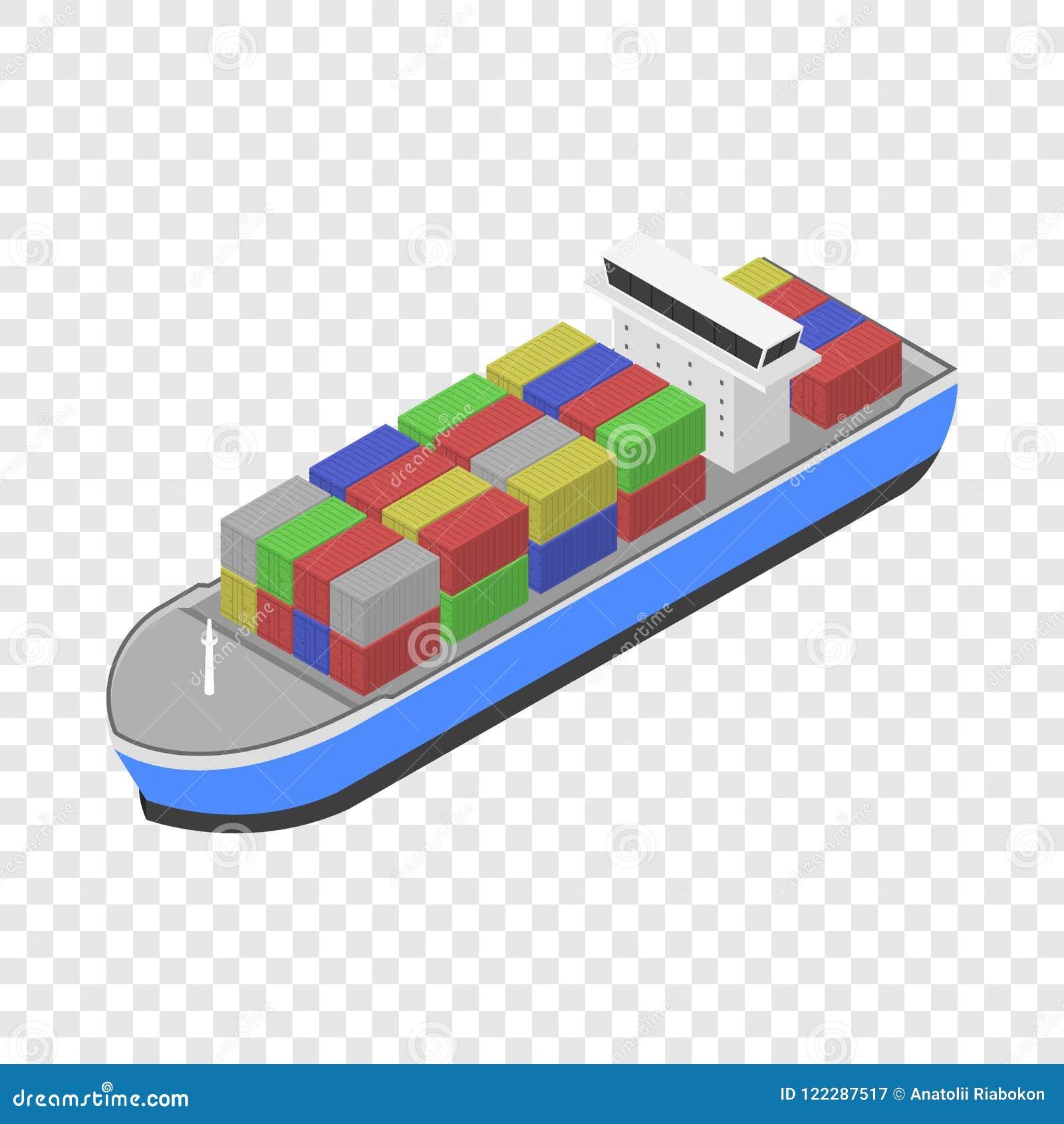 Icona della nave da carico di consegna, stile isometrico