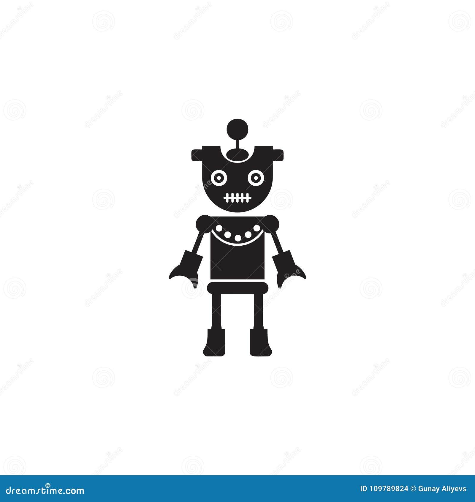 Icona della ragazza del robot Elemento dei robot per i cartelloni pubblicitari, il concetto mobile e i apps di web Icona per prog