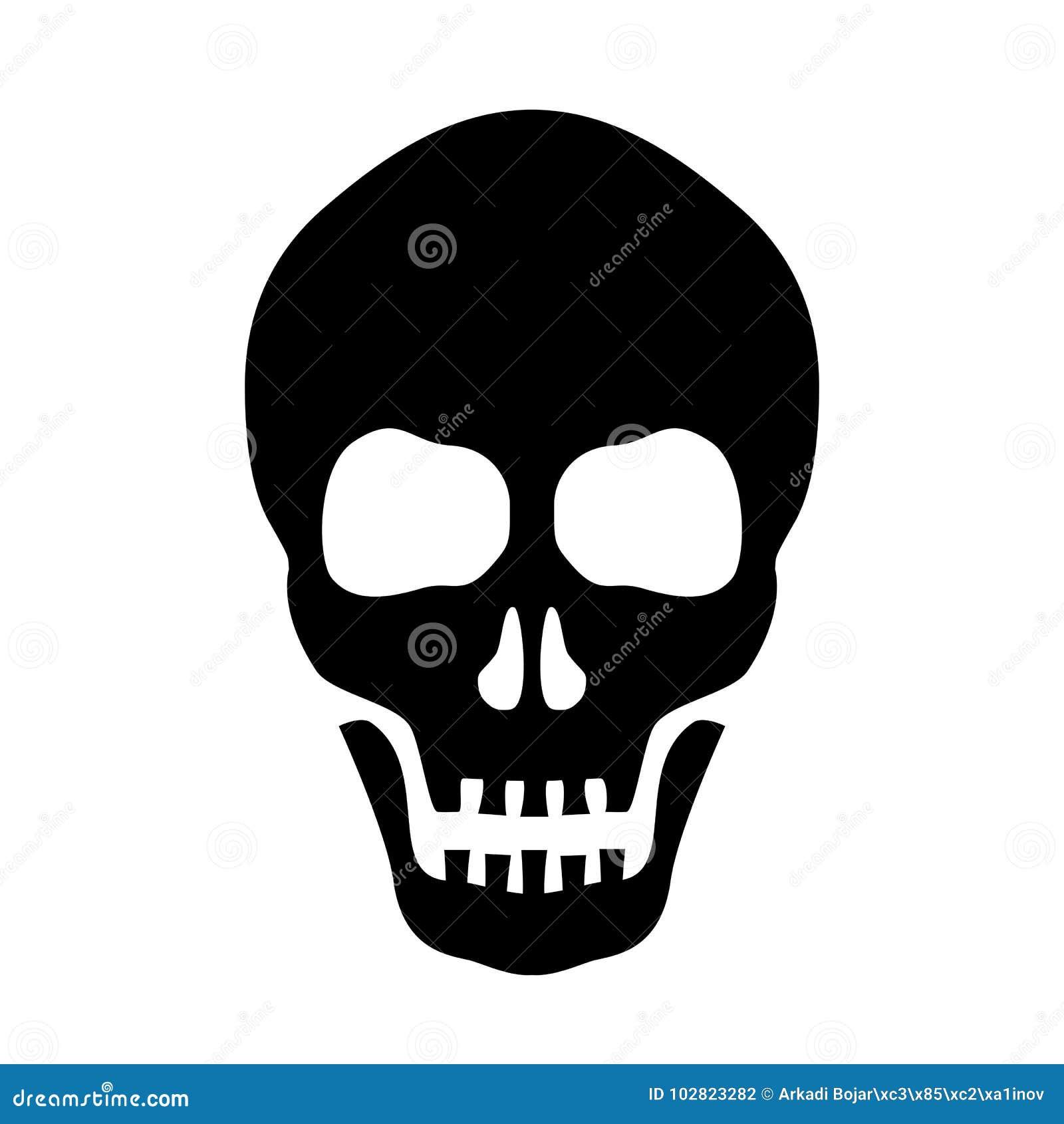 Icona della siluetta di vettore del cranio