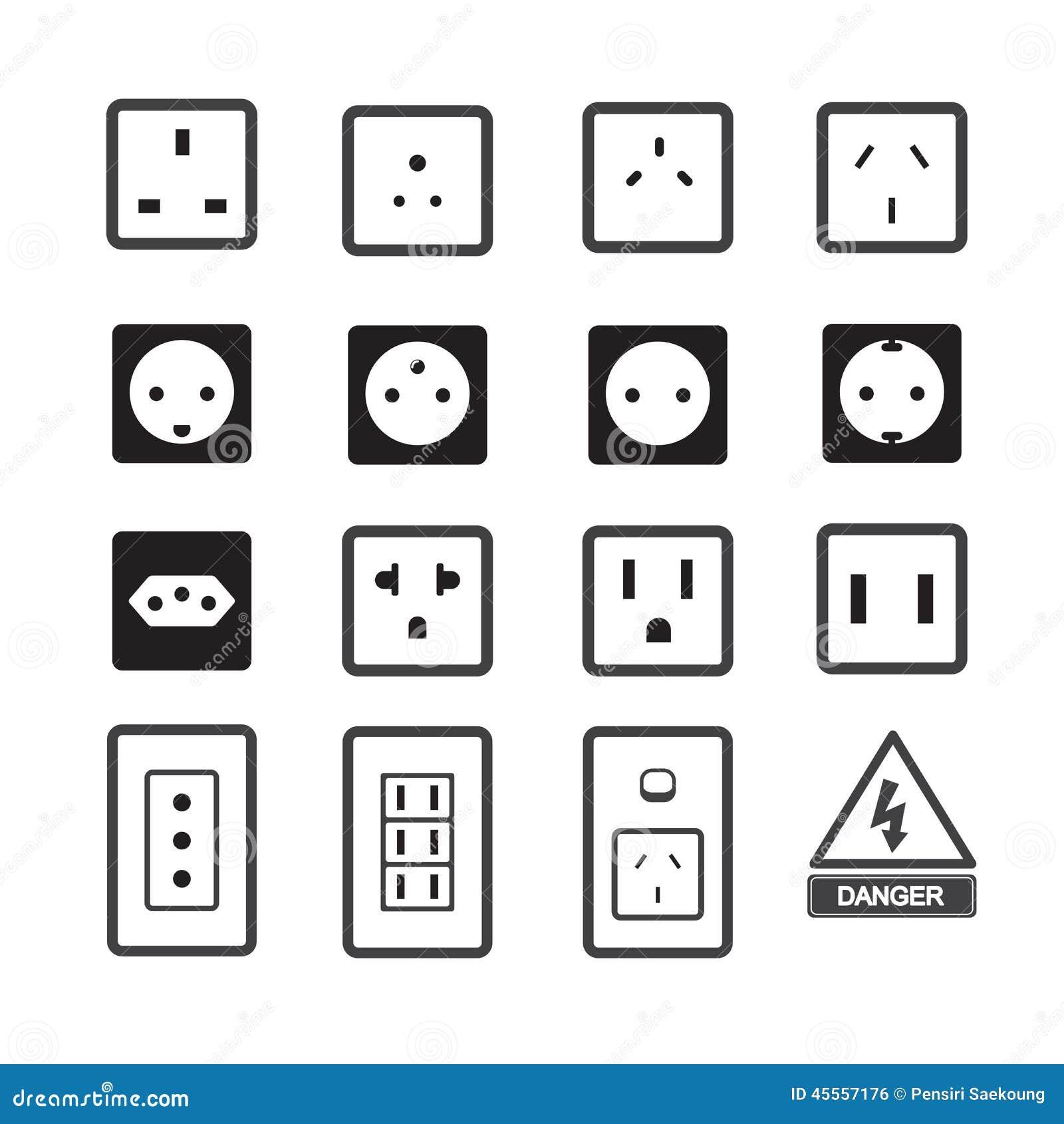 icona della spina e dello sbocco elettrico illustrazione. Black Bedroom Furniture Sets. Home Design Ideas
