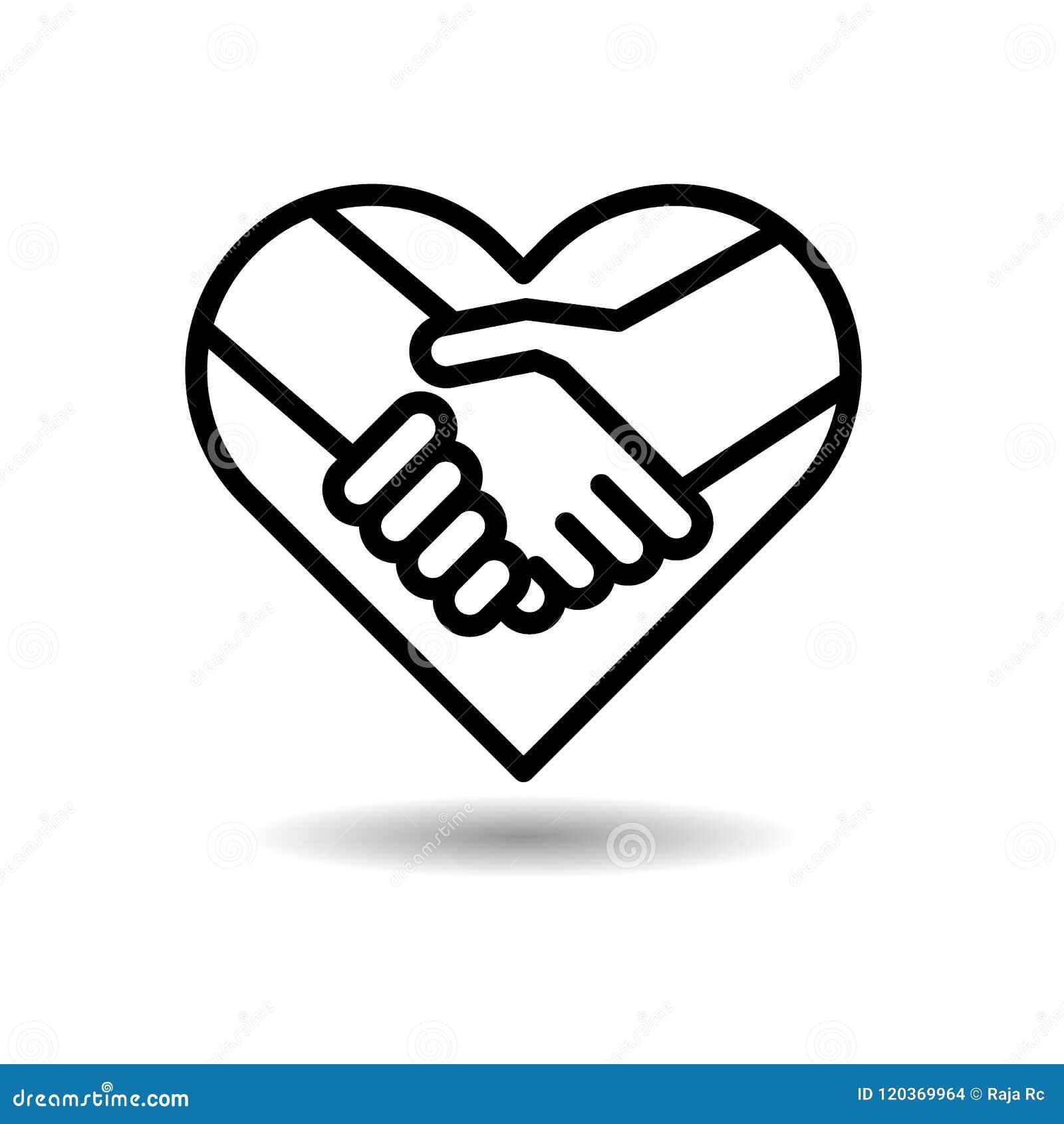 Icona della stretta di mano nel cuore