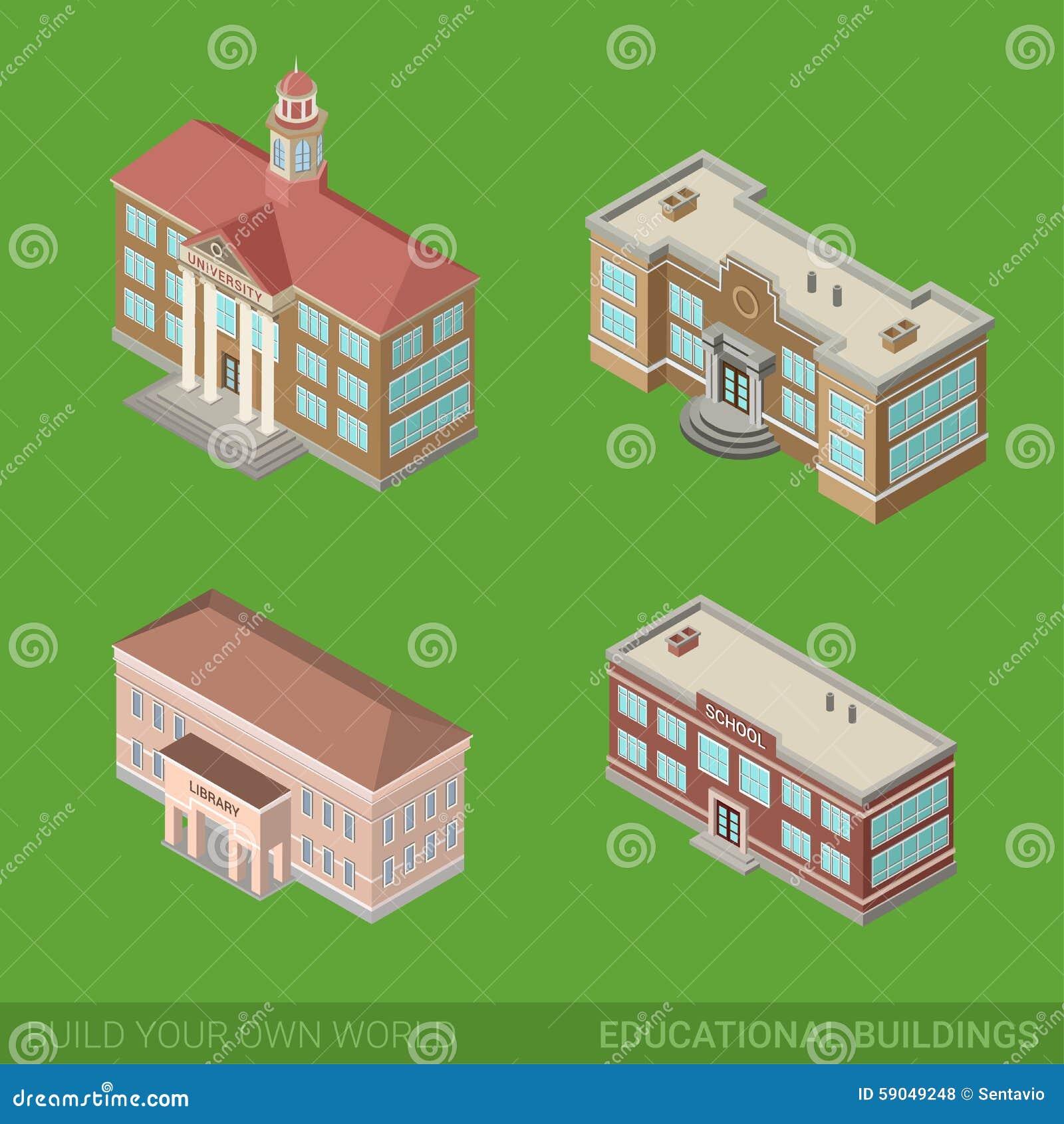 Icona delle costruzioni della città messa: scuola, università, biblioteca