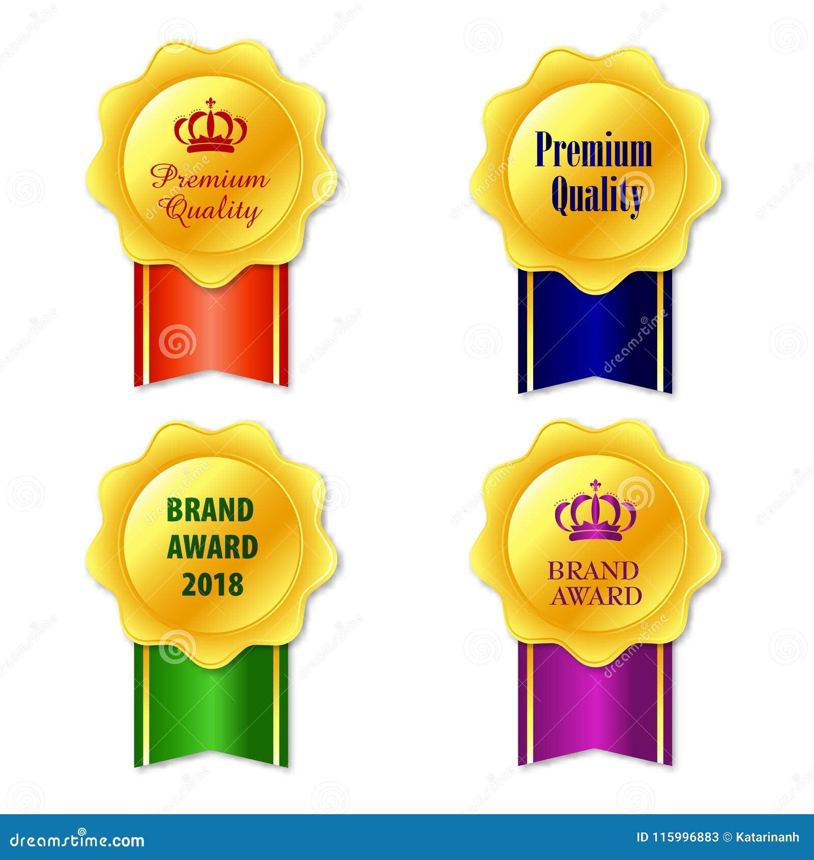 Icona delle medaglie Insieme dorato elegante della raccolta delle etichette Fondo bianco isolato icona del premio del nastro dell