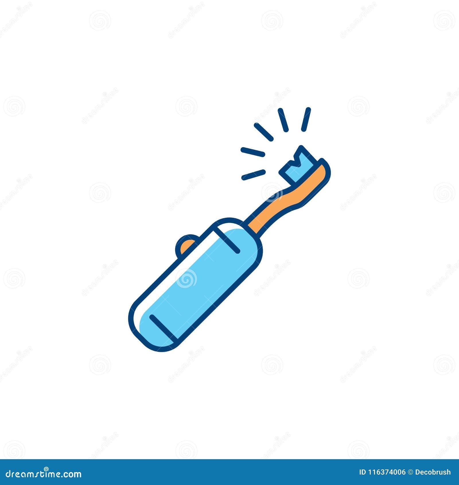 Icona dello spazzolino da denti elettrico Cure odontoiatriche, igiene orale, pulizia dei denti Linea sottile variopinta icona di