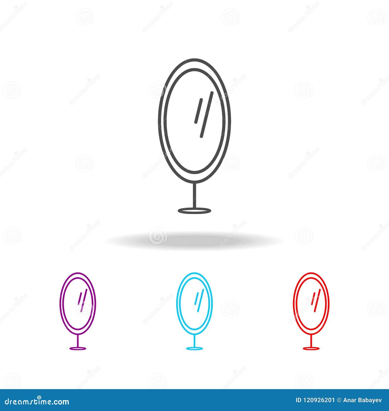 Icona dello specchio del piede Elementi di mobilia nelle multi icone colorate Icona premio di progettazione grafica di qualità Ic