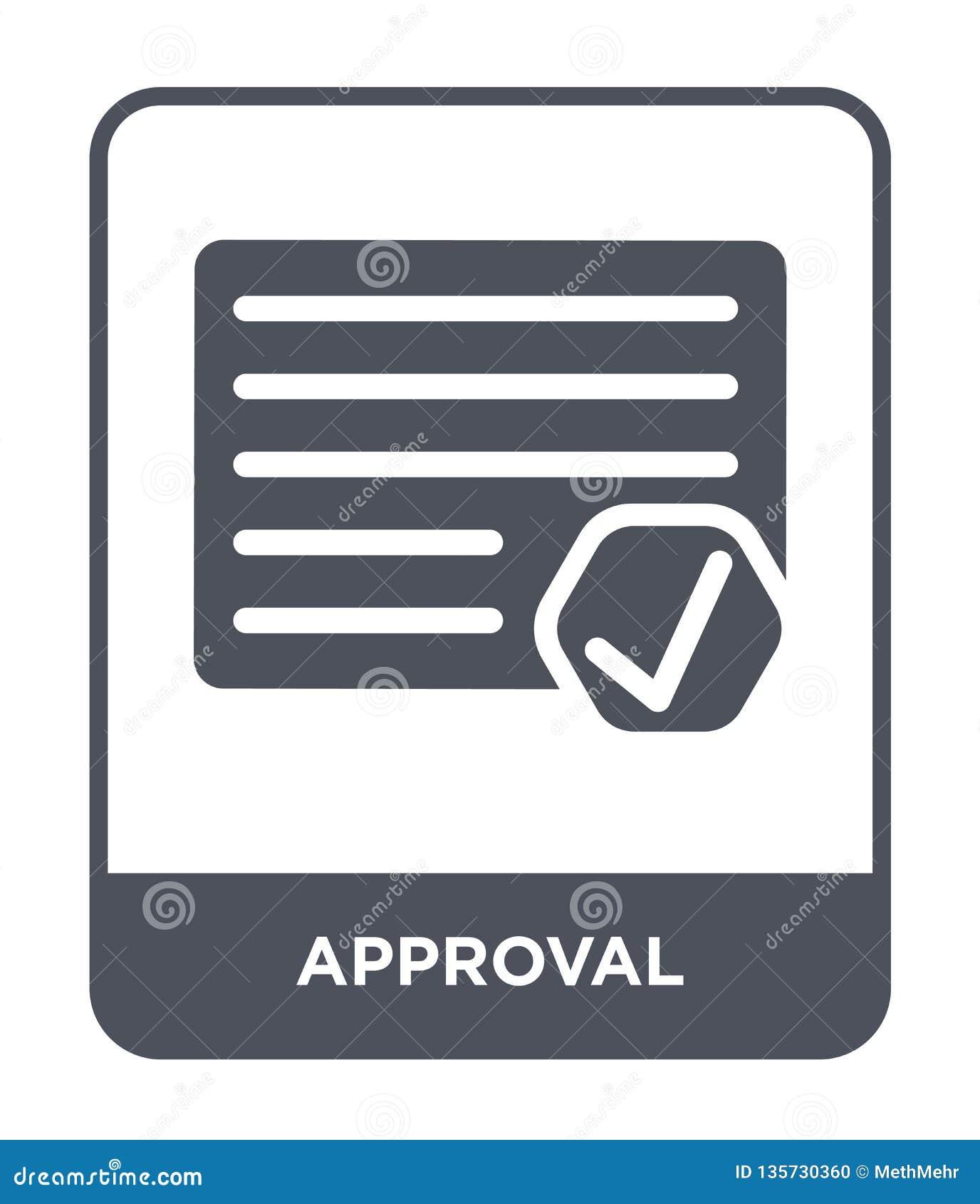 Icona di approvazione nello stile d avanguardia di progettazione icona di approvazione isolata su fondo bianco piano semplice e m