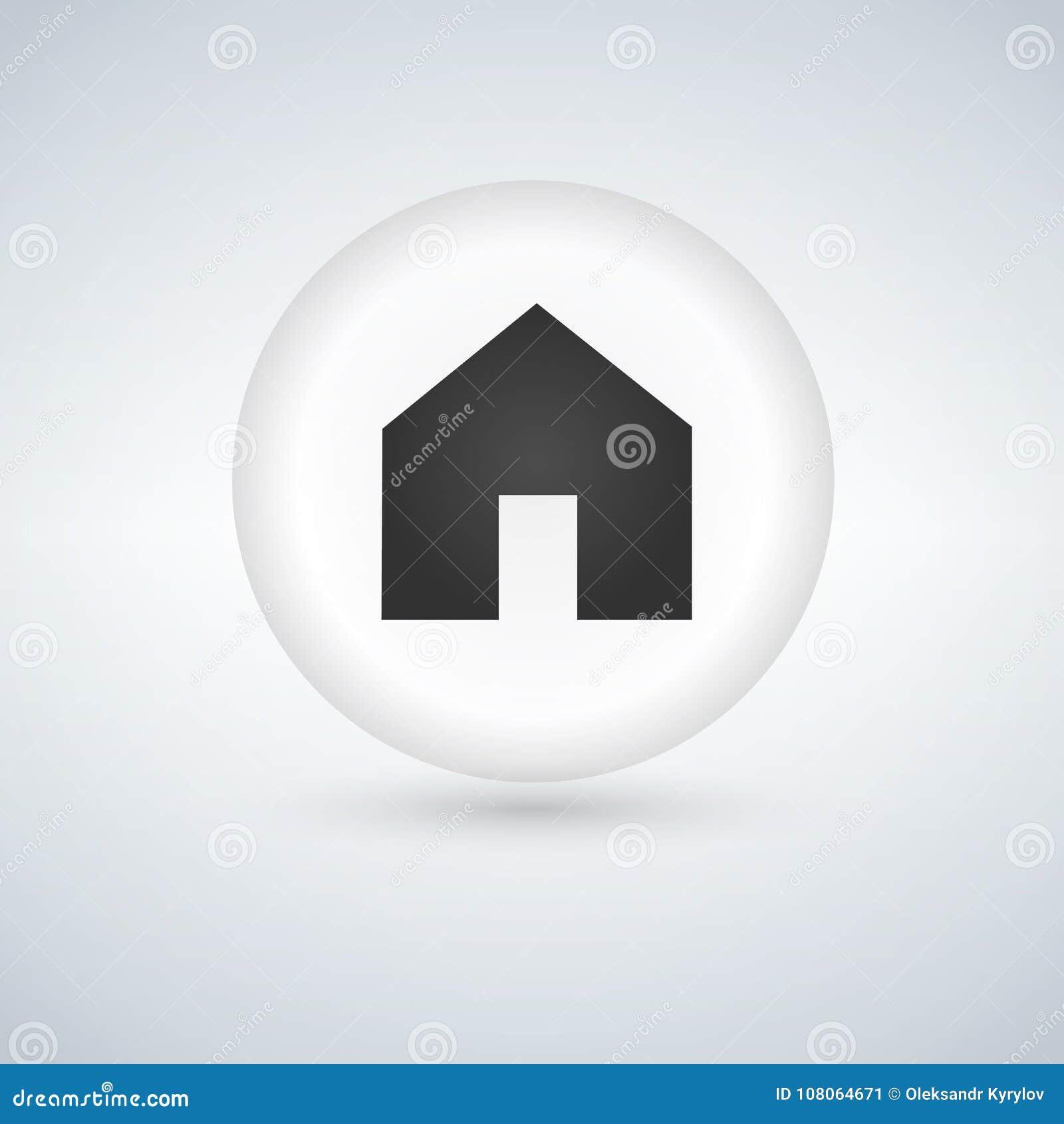Icona di base della casa di web, bottone lucido bianco del cerchio