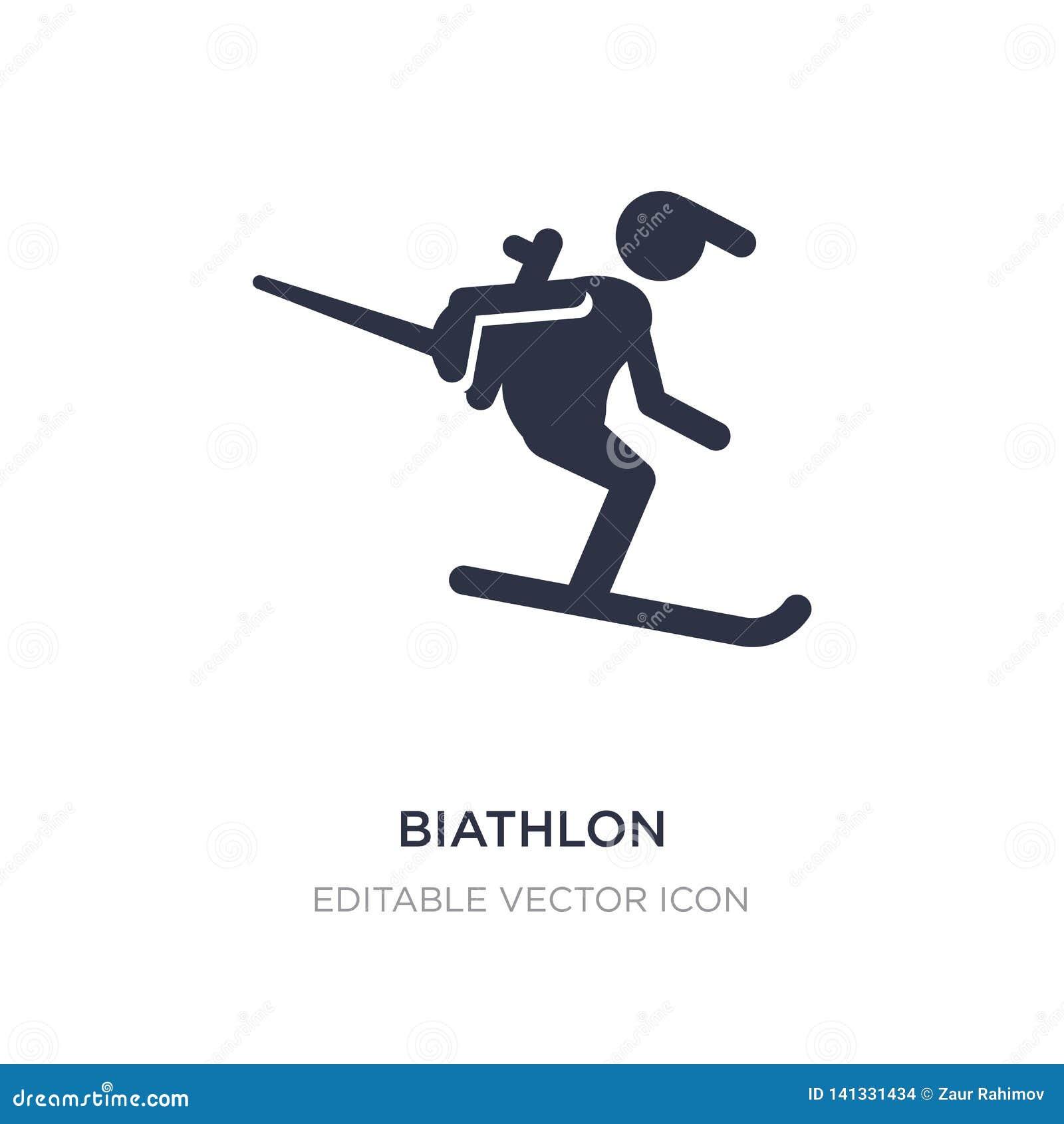 Icona di biathlon su fondo bianco Illustrazione semplice dell elemento dal concetto di sport