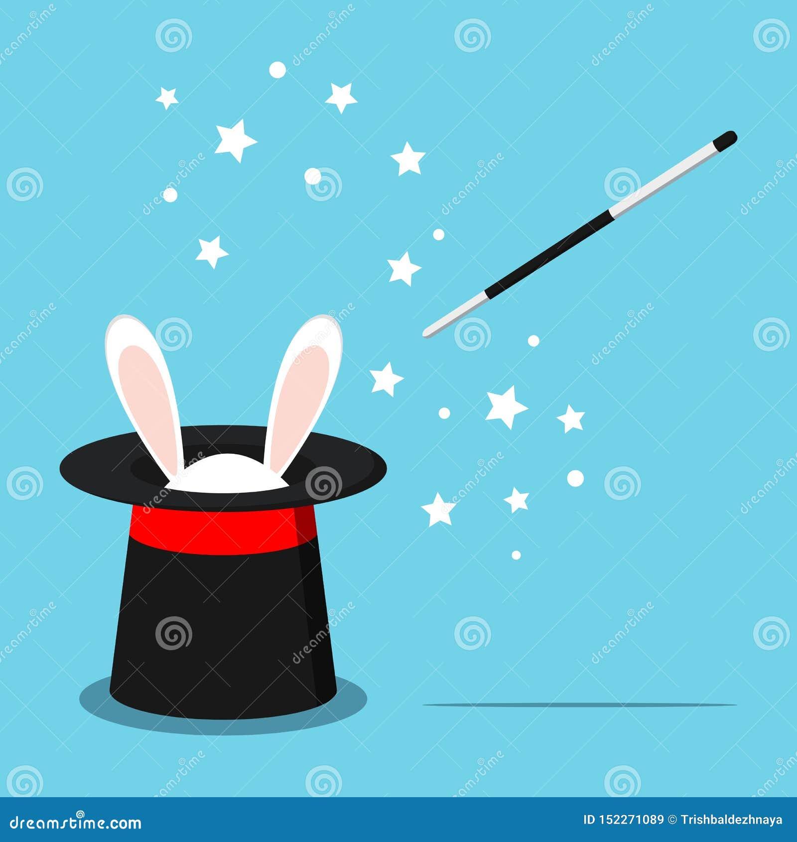 Icona di black hat magico con le orecchie bianche del coniglietto del coniglio