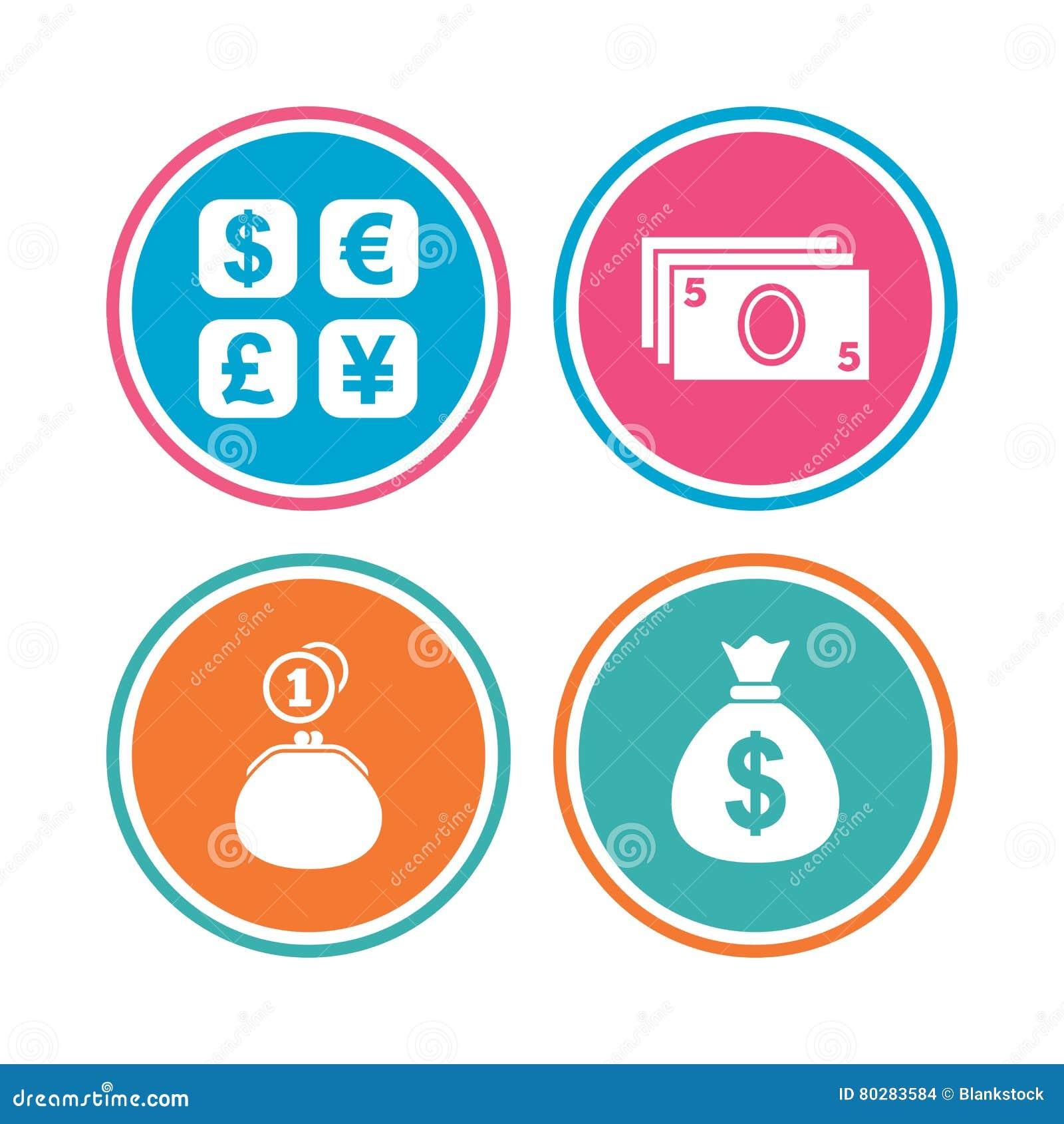 11b7a5d705 Icona di cambio Borsa e portafoglio del denaro contante con i segni delle  monete Dollaro, euro, sterlina, simboli di Yen Bottoni del cerchio colorato  ...