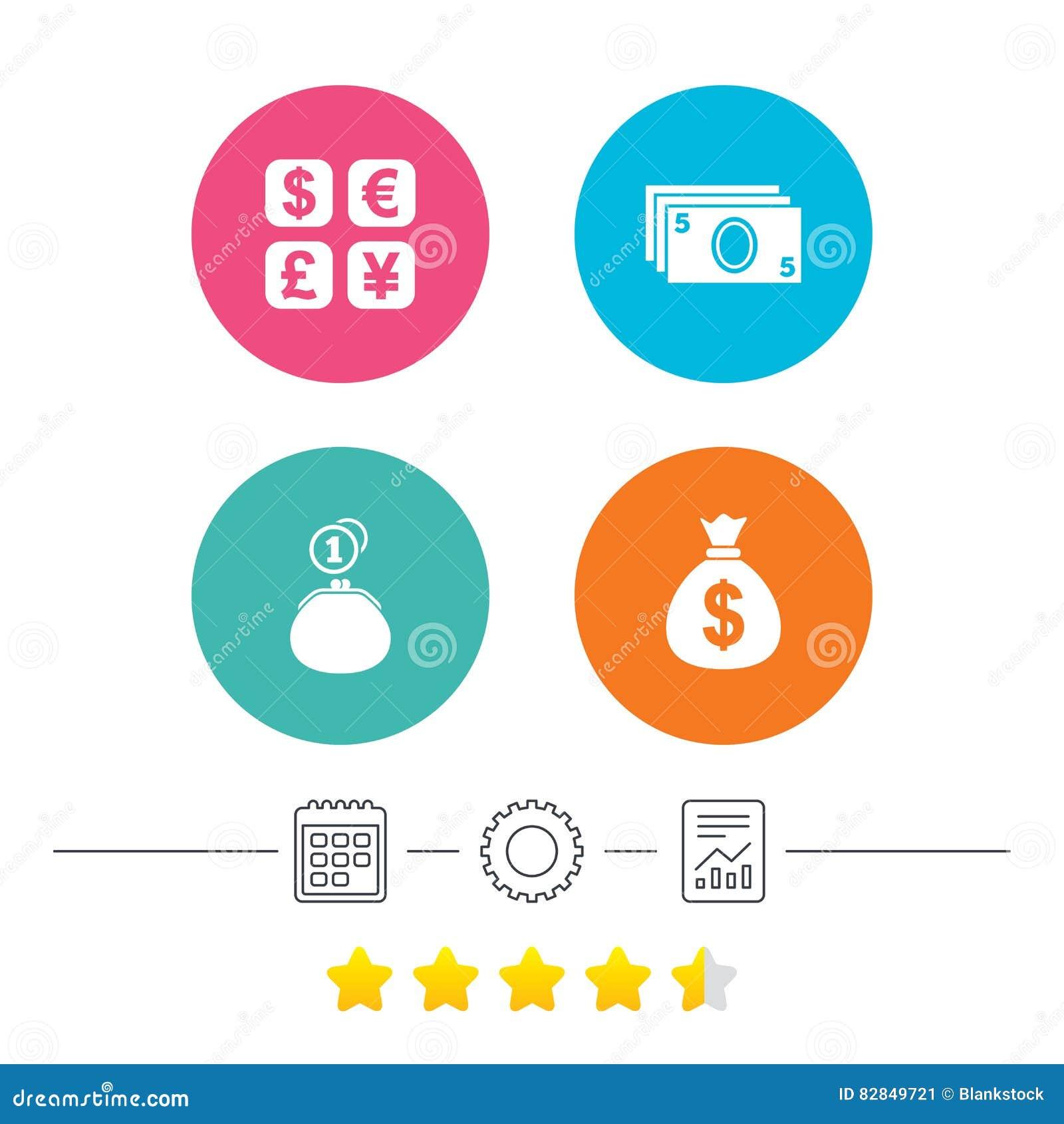 3eaca3ecc6 Icona di cambio Borsa e portafoglio del denaro contante con i segni delle  monete Dollaro, euro, sterlina, simboli di Yen Calendario, ruota dentata ed  icone ...