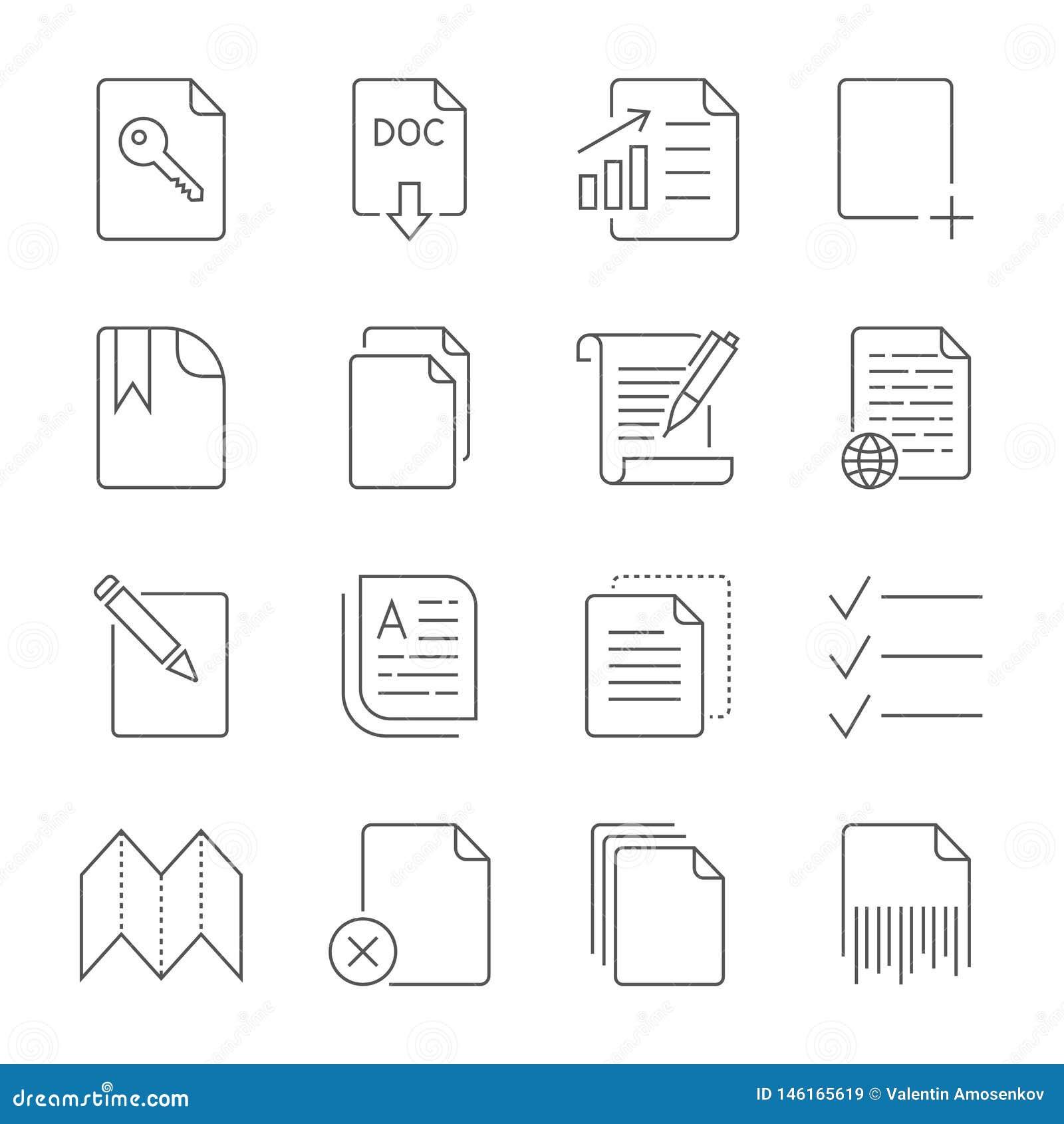 Icona di carta, icona del documento Colpo editabile