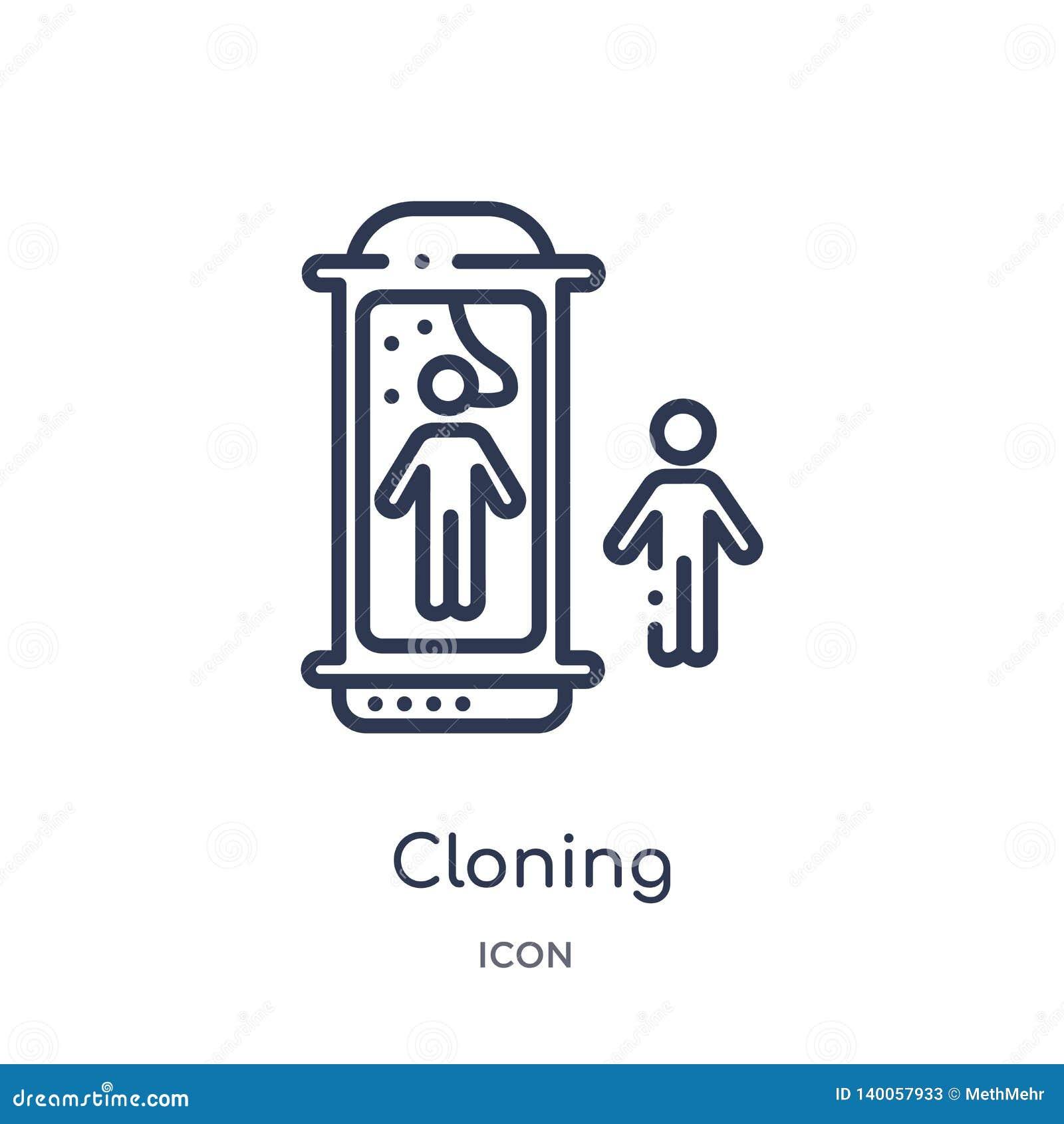 Icona di clonazione lineare dalla raccolta futura del profilo di tecnologia Linea sottile icona della clonazione isolata su fondo