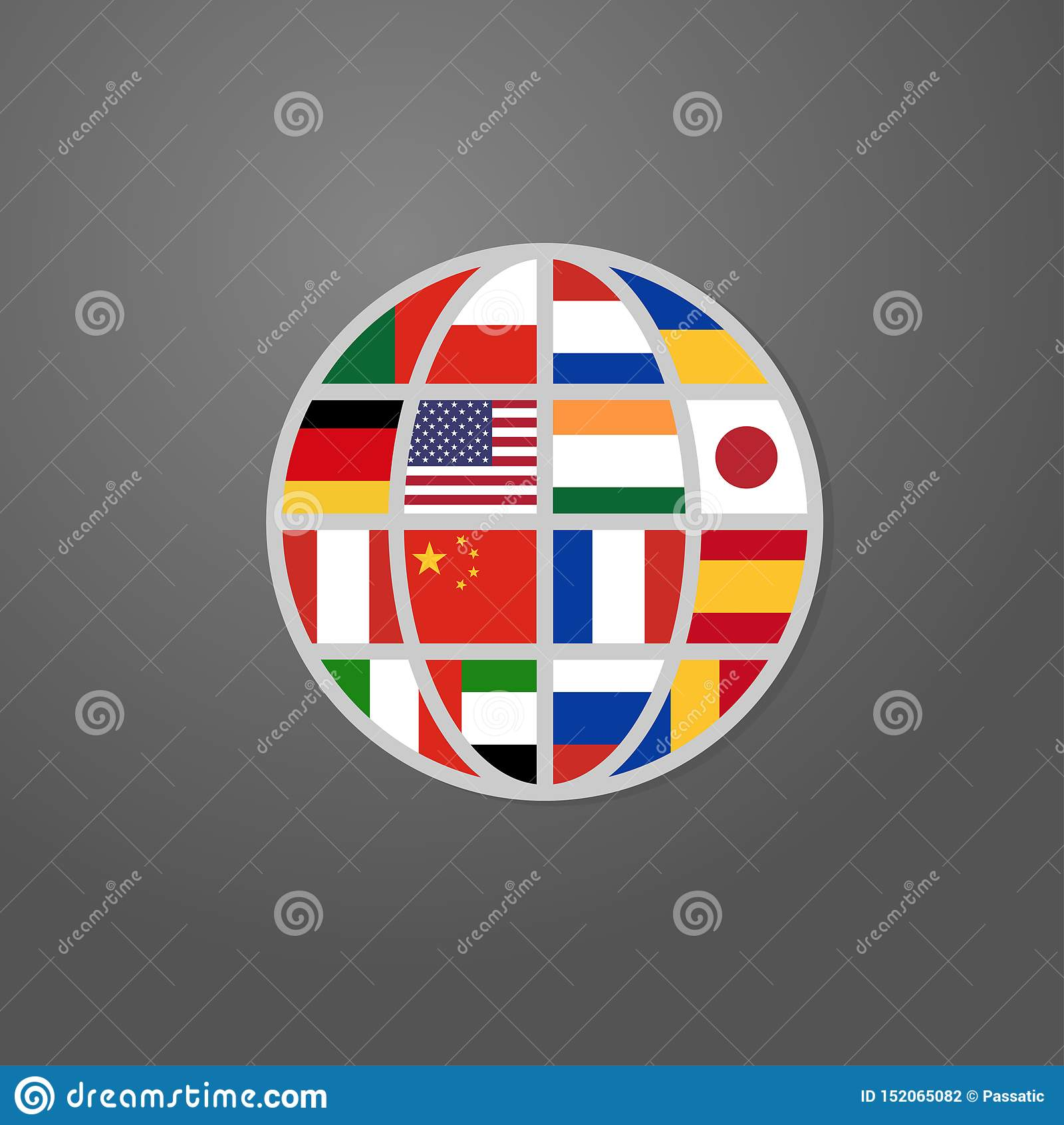 Icona di colore del mondo con il vettore delle bandiere di paesi