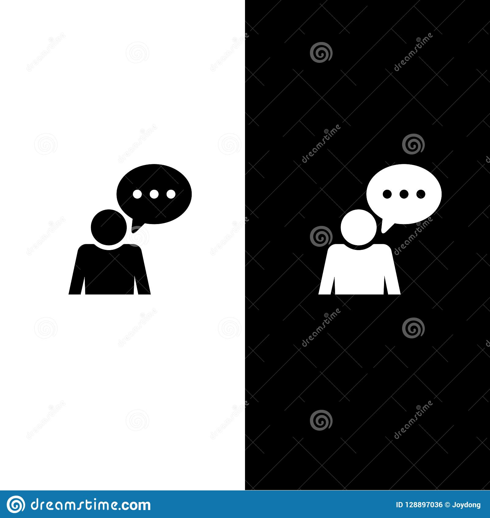 Icona di conversazione di commento isolata sulla ciano illustrazione rotonda blu dell estratto del bottone